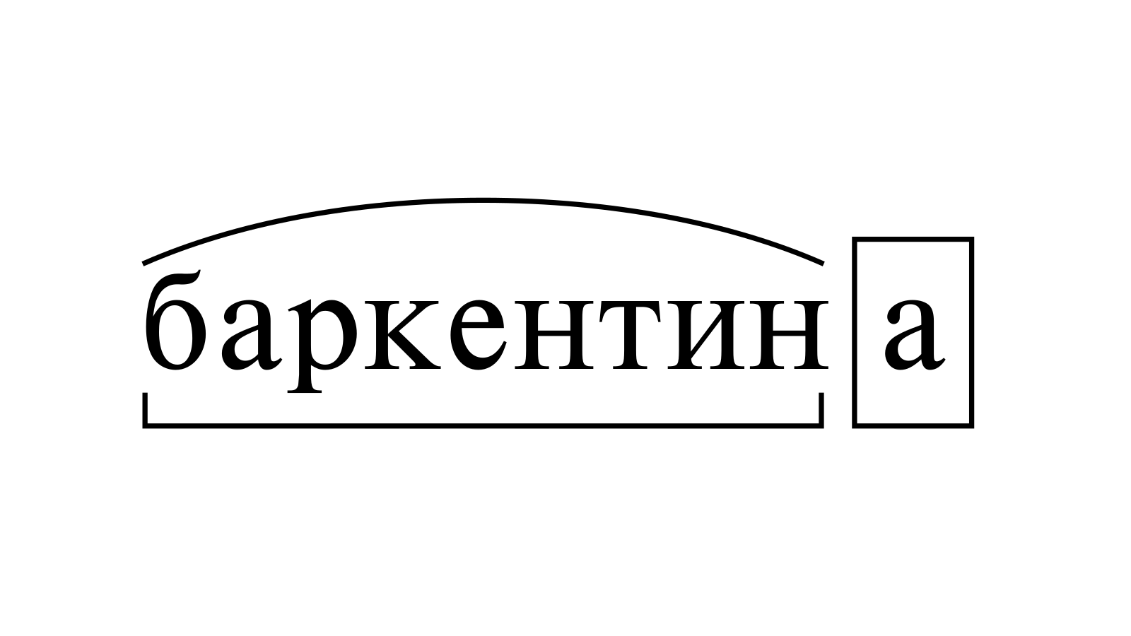 Разбор слова «баркентина» по составу