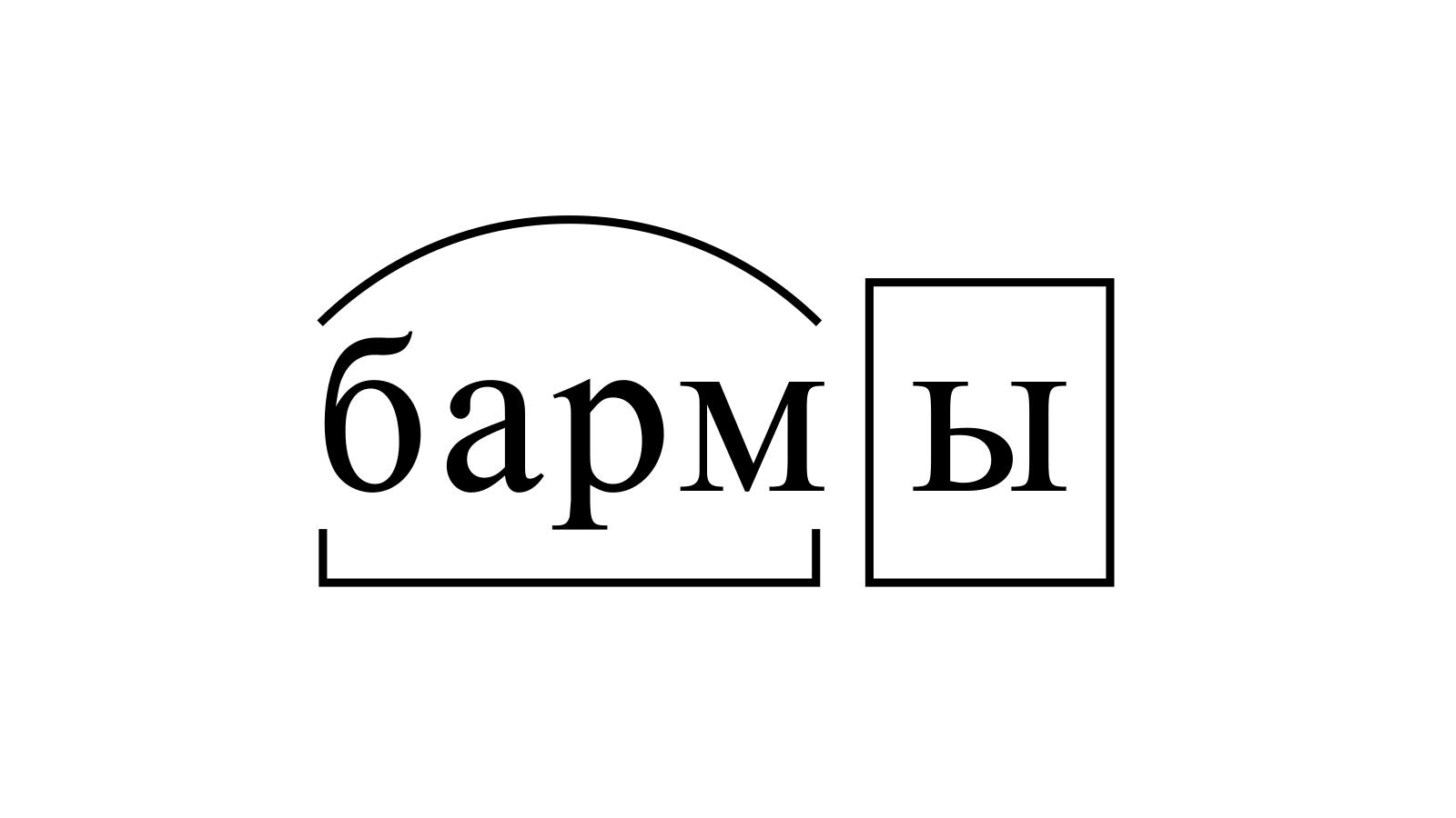 Разбор слова «бармы» по составу