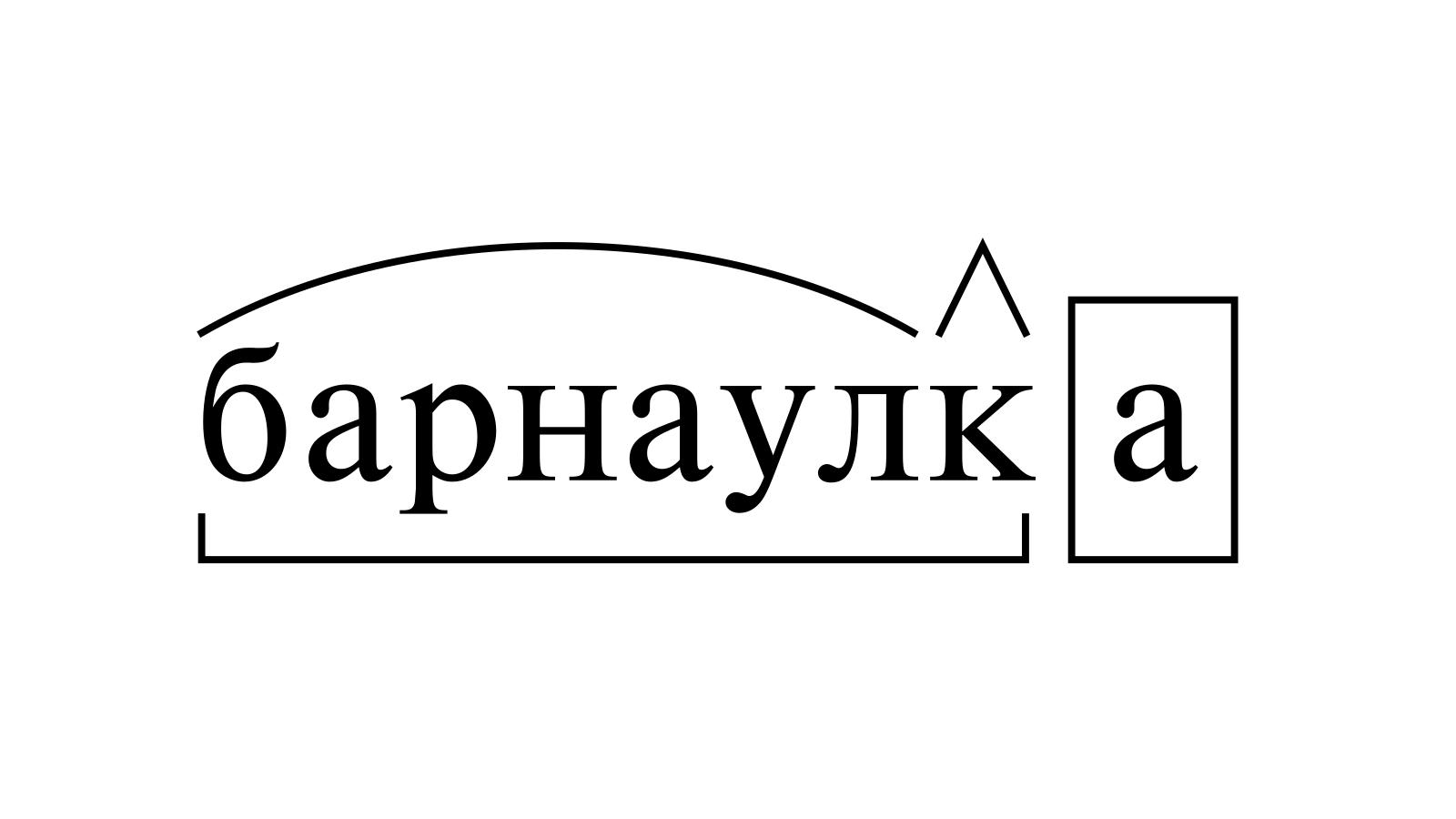 Разбор слова «барнаулка» по составу