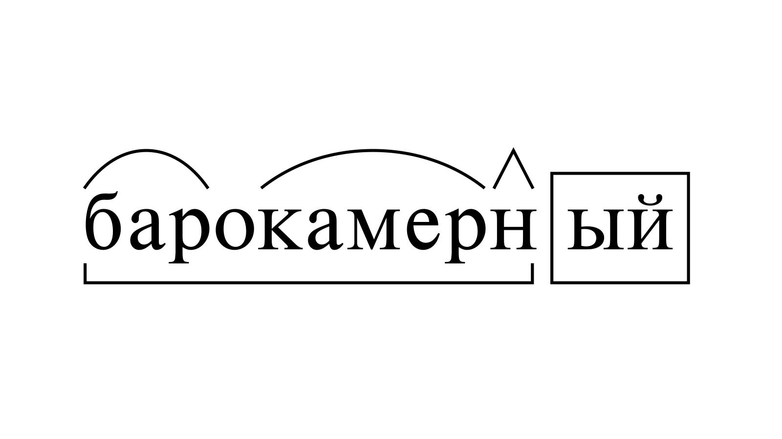Разбор слова «барокамерный» по составу