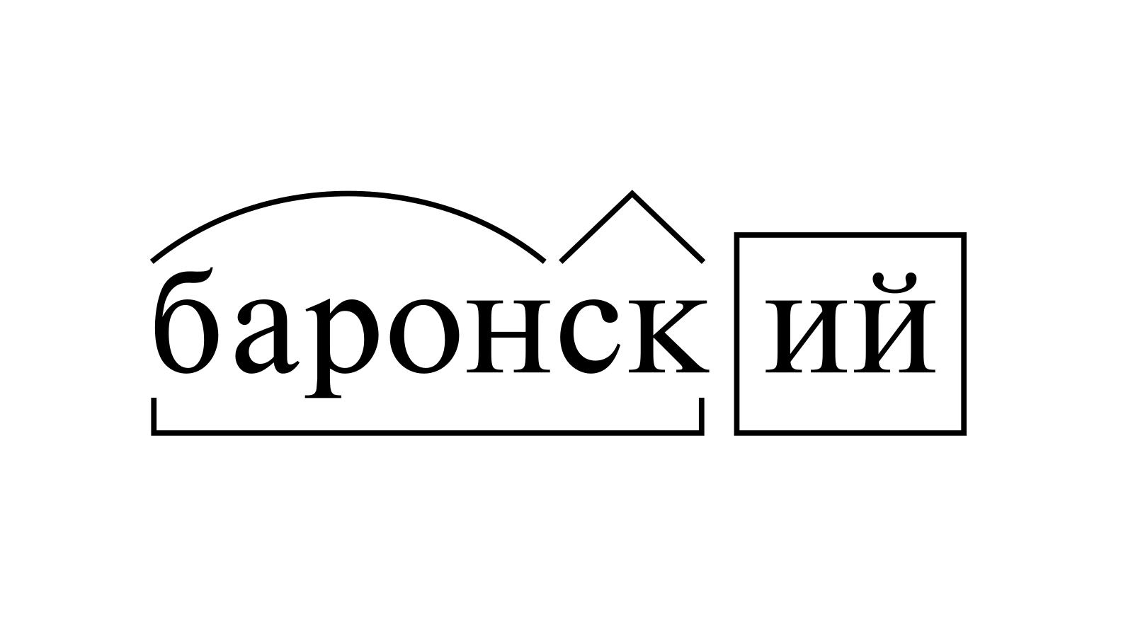 Разбор слова «баронский» по составу