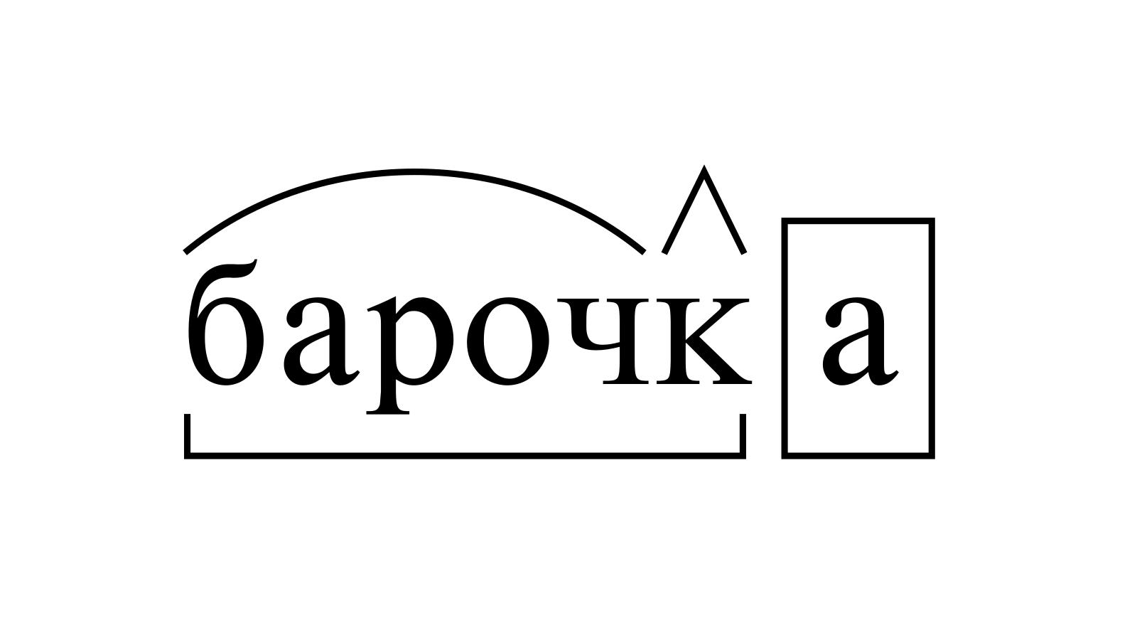 Разбор слова «барочка» по составу