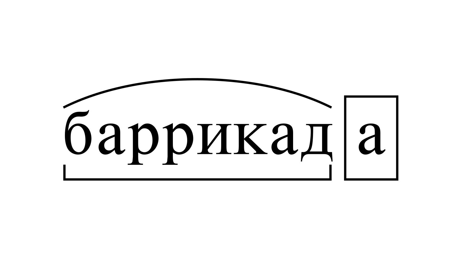 Разбор слова «баррикада» по составу
