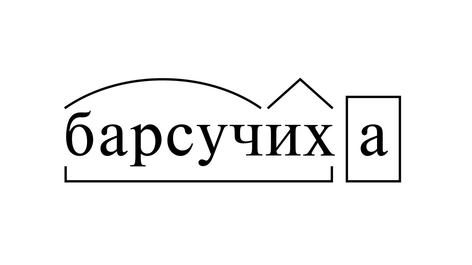 Разбор слова «барсучиха» по составу