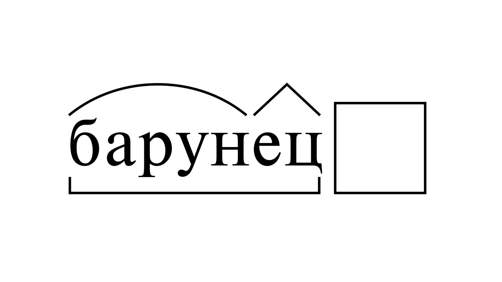 Разбор слова «барунец» по составу