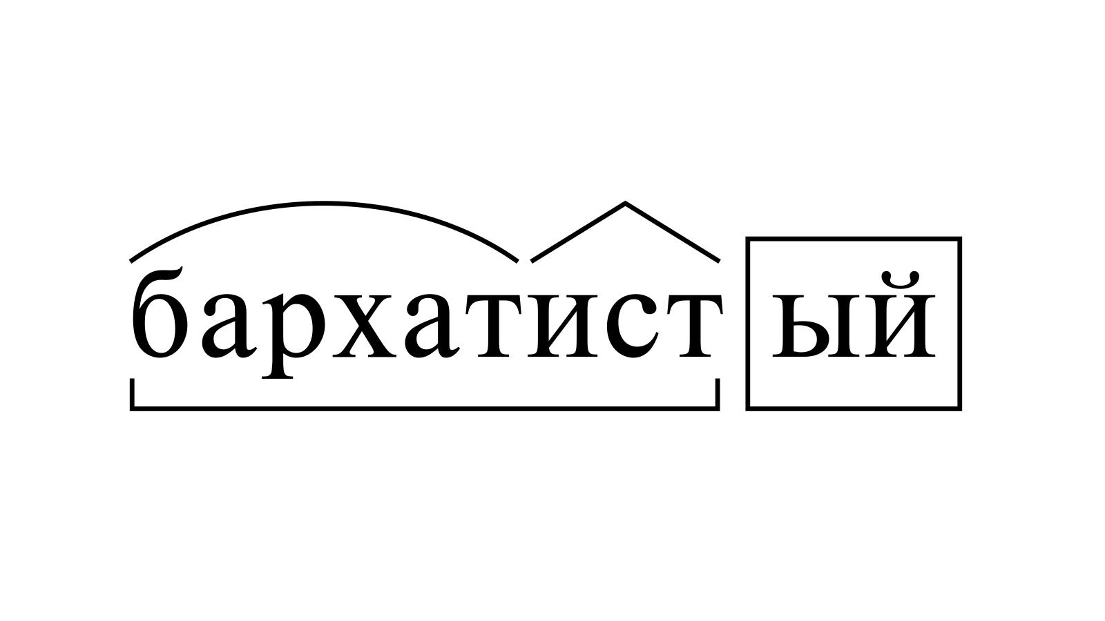 Разбор слова «бархатистый» по составу