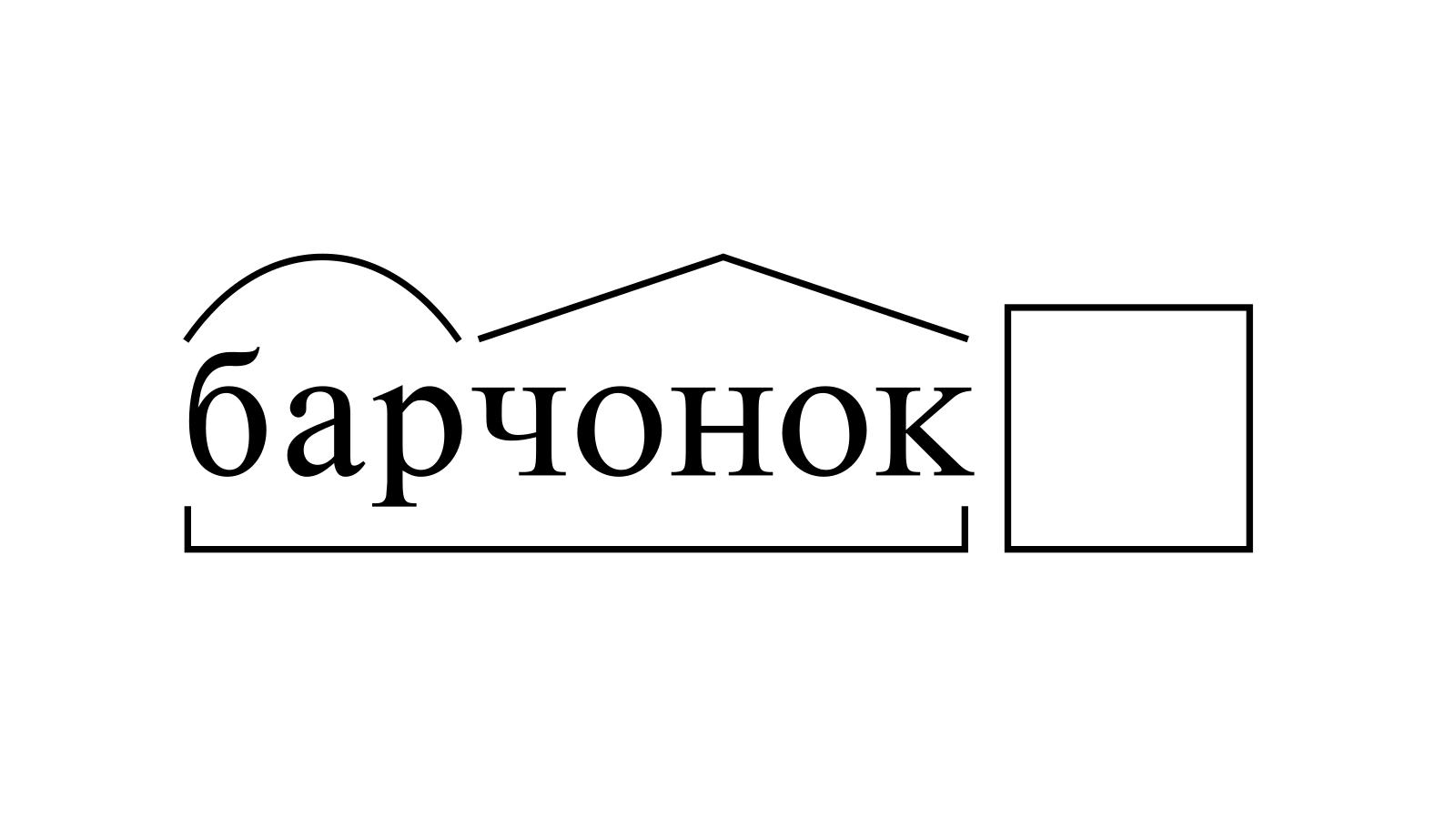 Разбор слова «барчонок» по составу