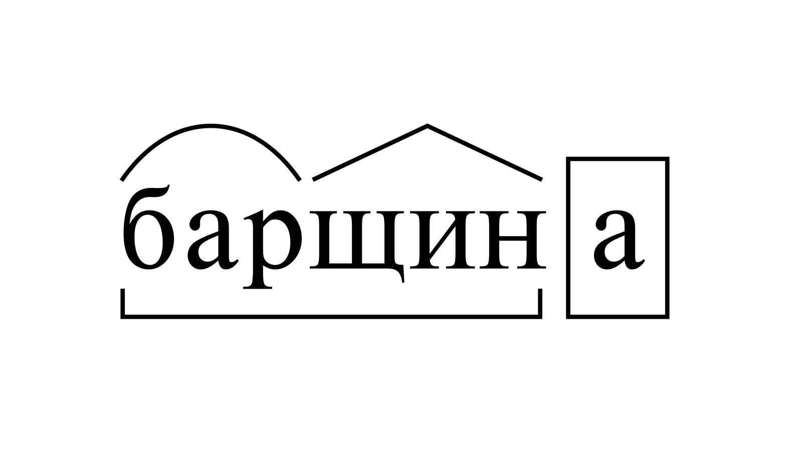 Разбор слова «барщина» по составу