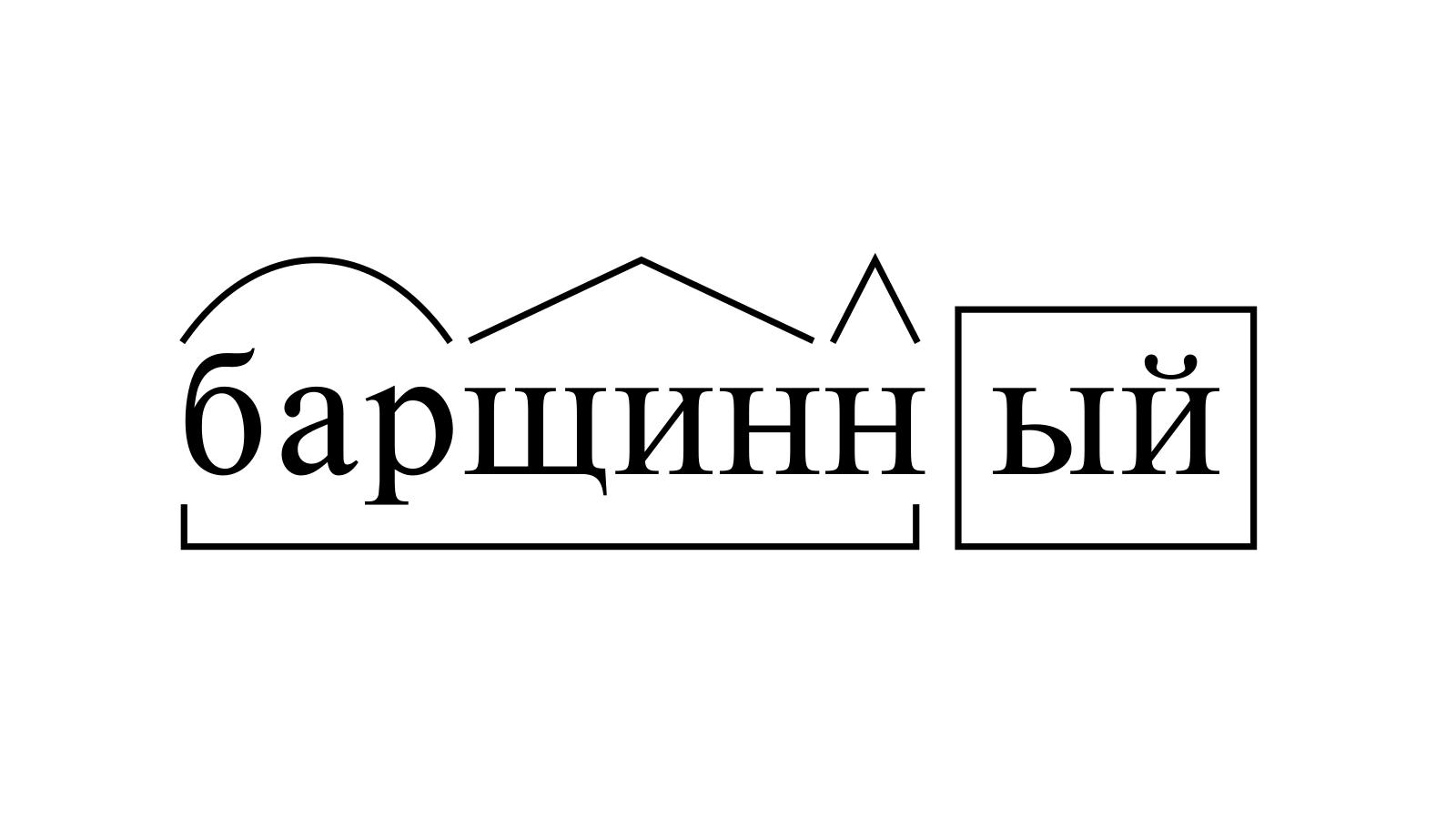 Разбор слова «барщинный» по составу