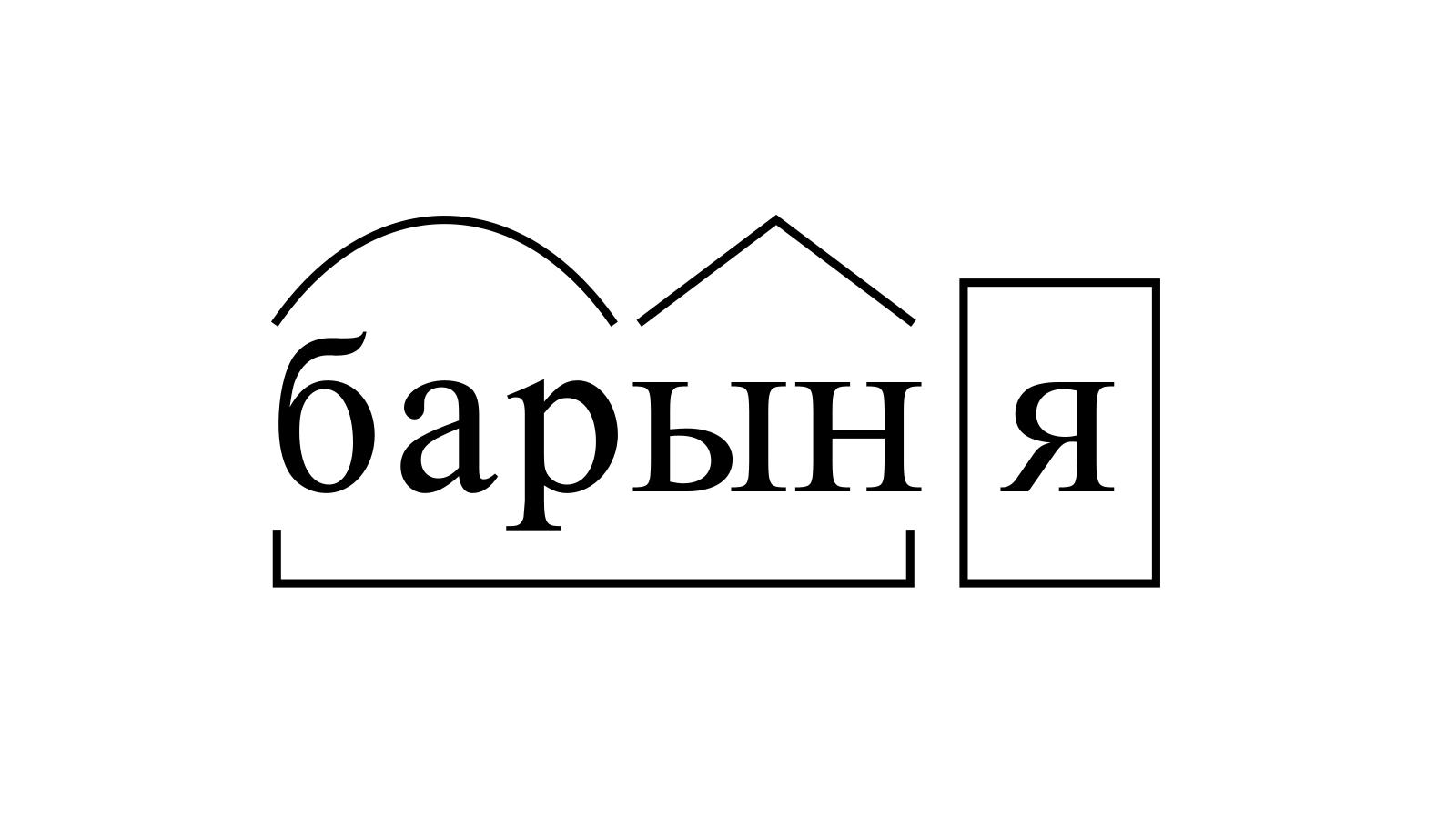 Разбор слова «барыня» по составу