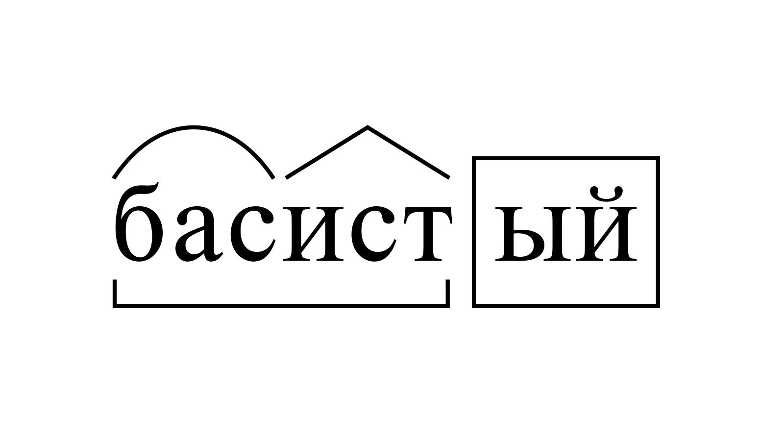 Разбор слова «басистый» по составу