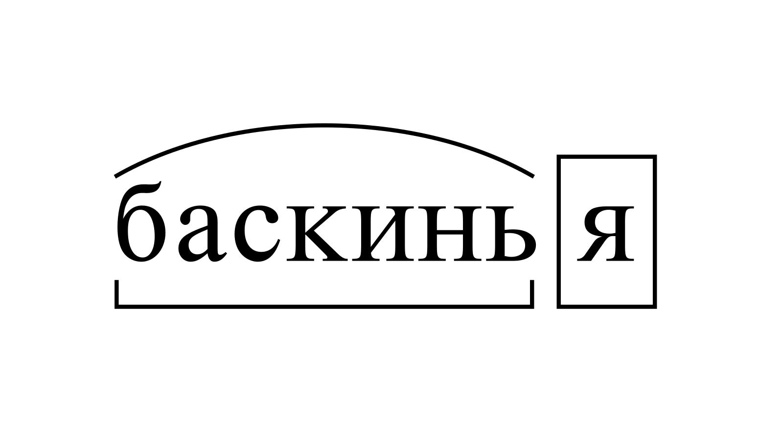 Разбор слова «баскинья» по составу