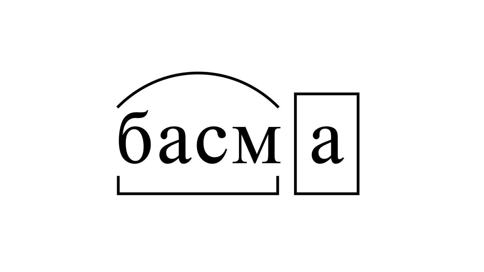 Разбор слова «басма» по составу