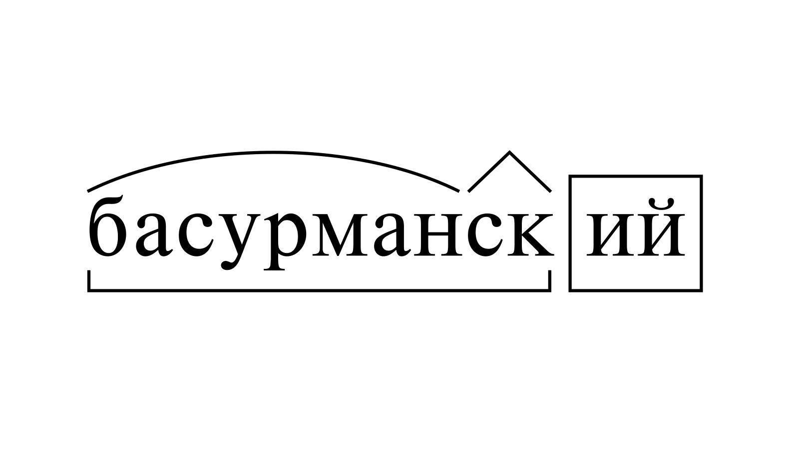 Разбор слова «басурманский» по составу