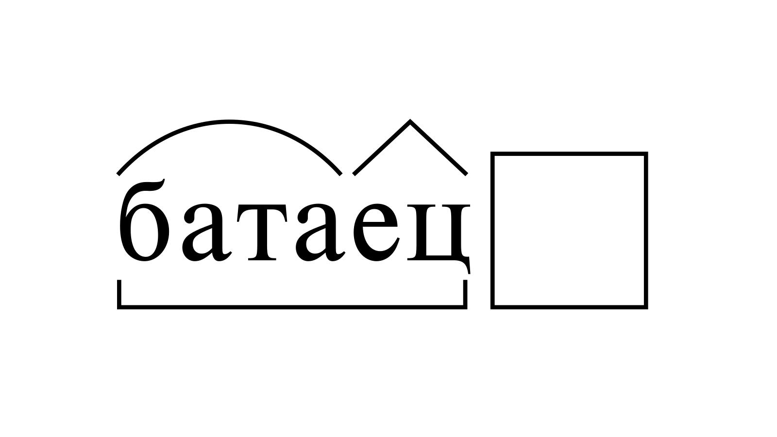 Разбор слова «батаец» по составу