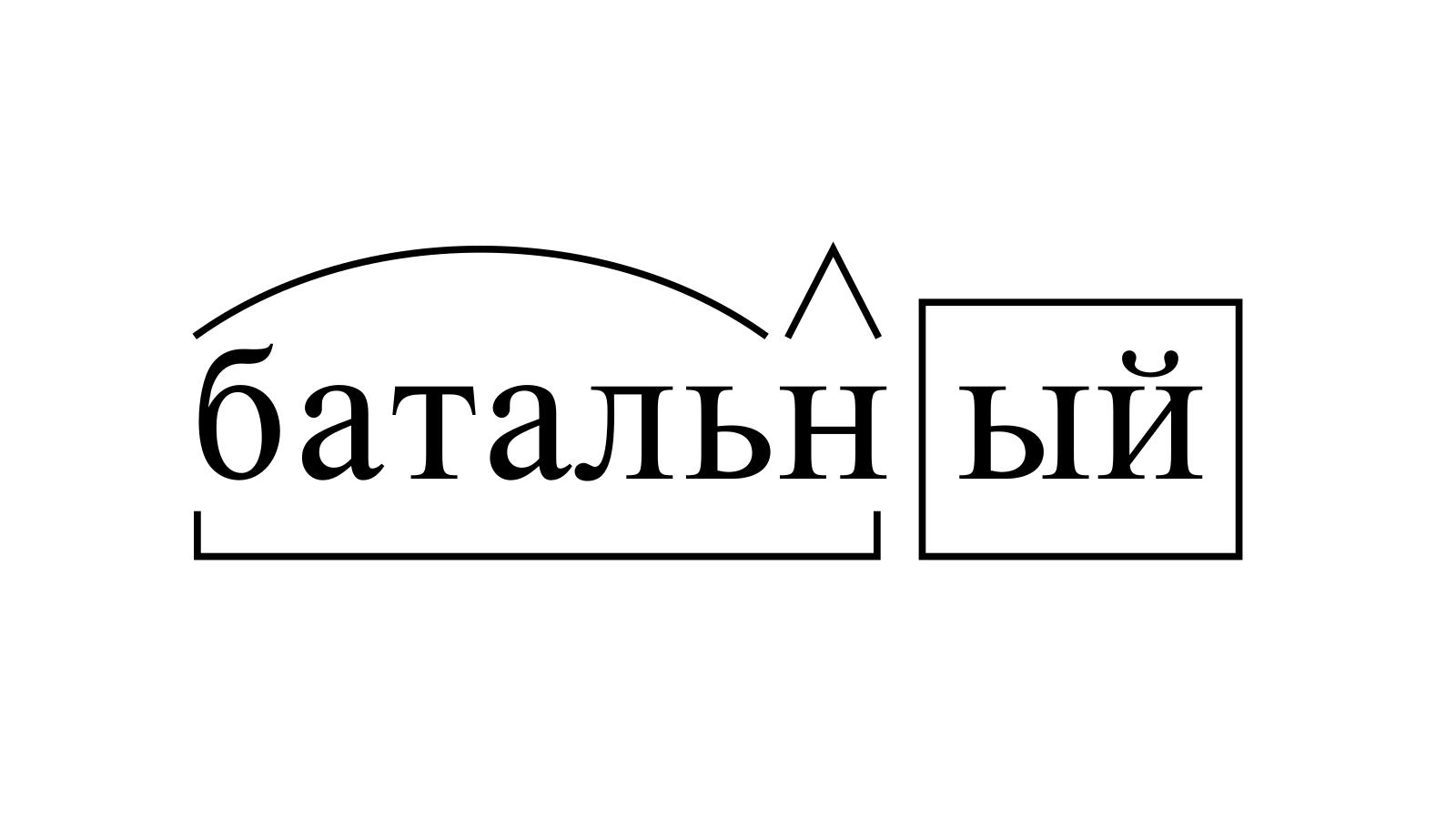 Разбор слова «батальный» по составу