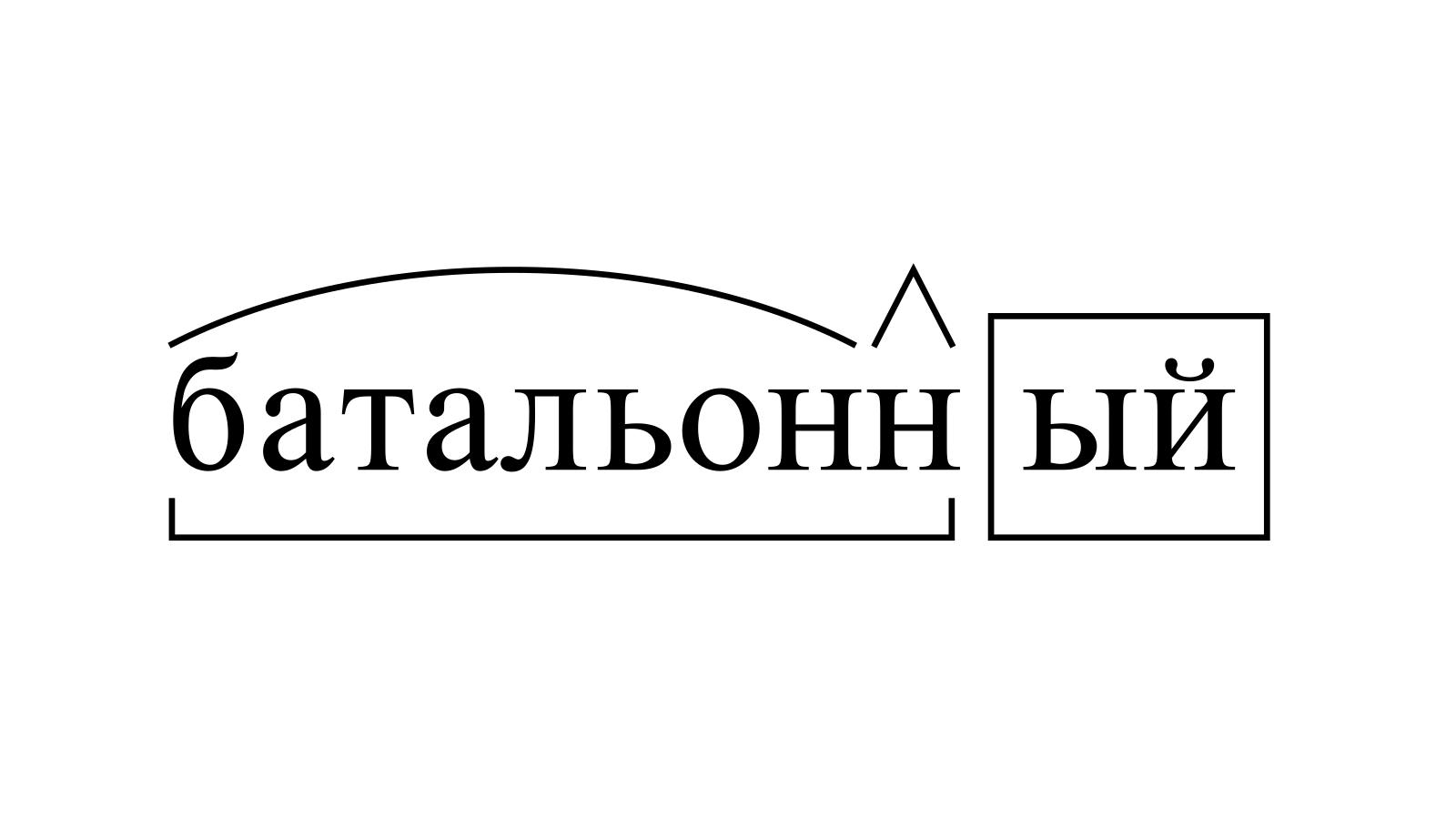 Разбор слова «батальонный» по составу