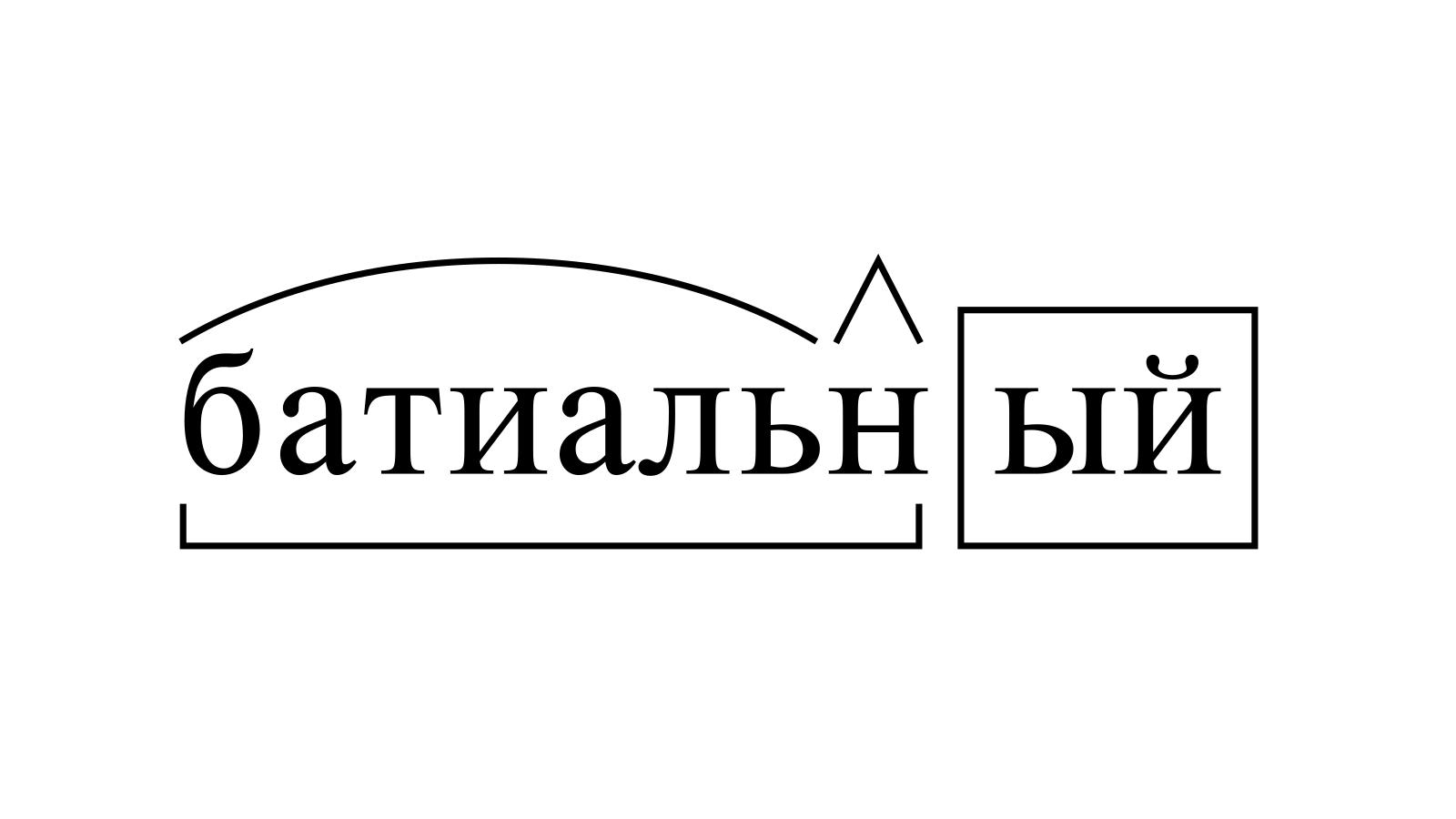 Разбор слова «батиальный» по составу