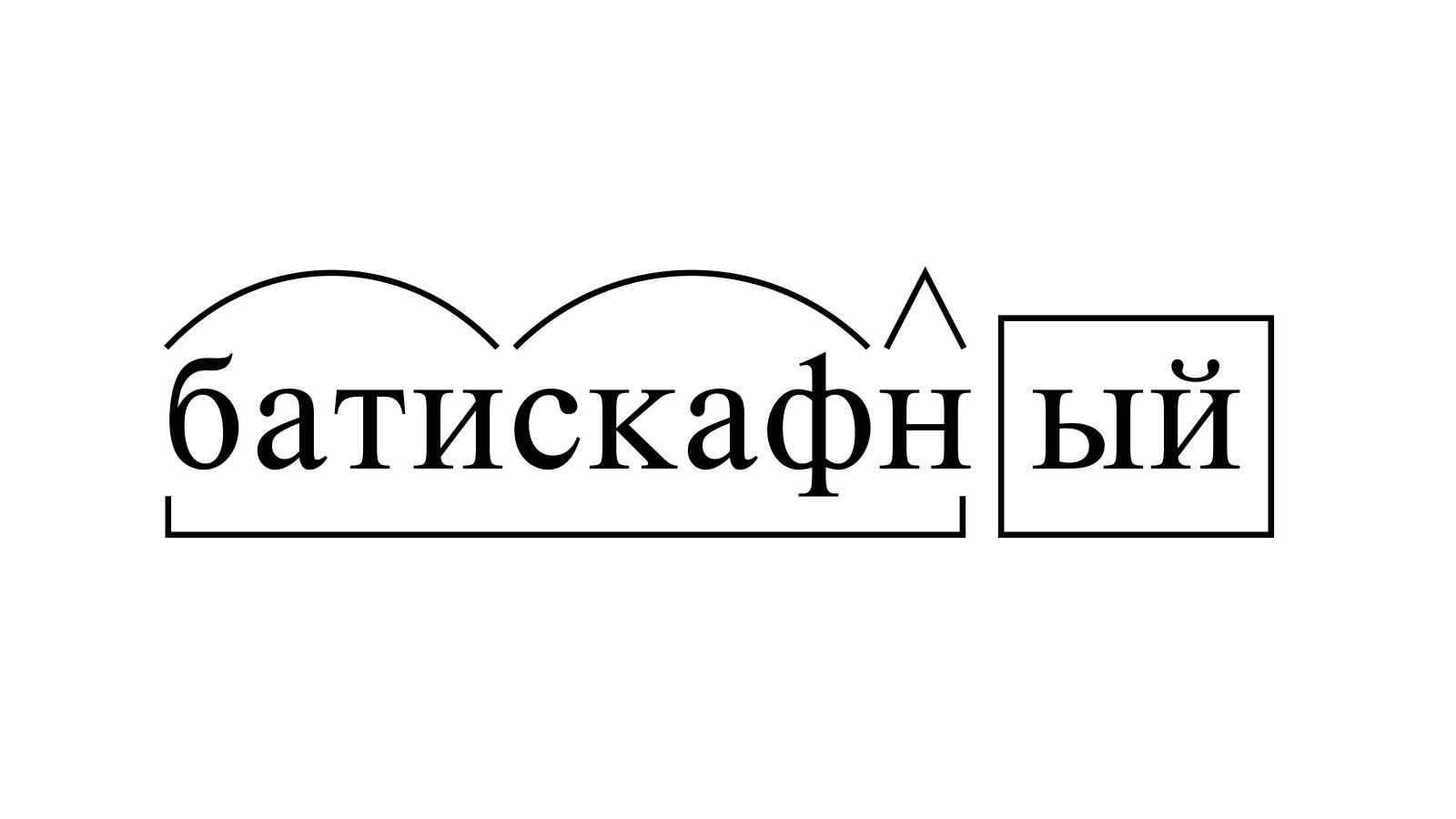 Разбор слова «батискафный» по составу