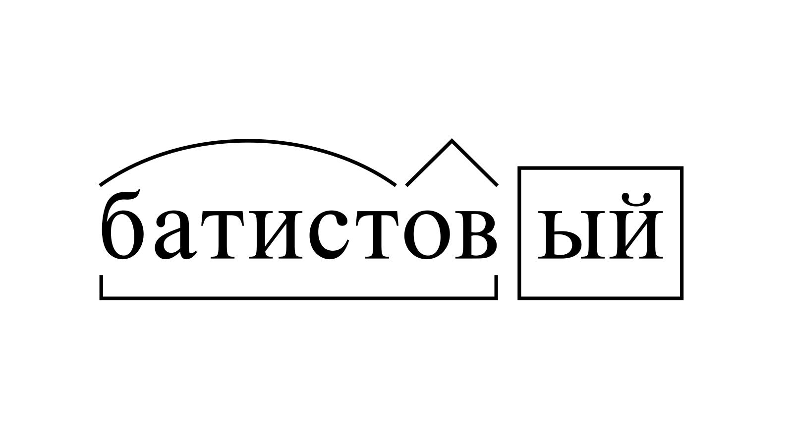 Разбор слова «батистовый» по составу