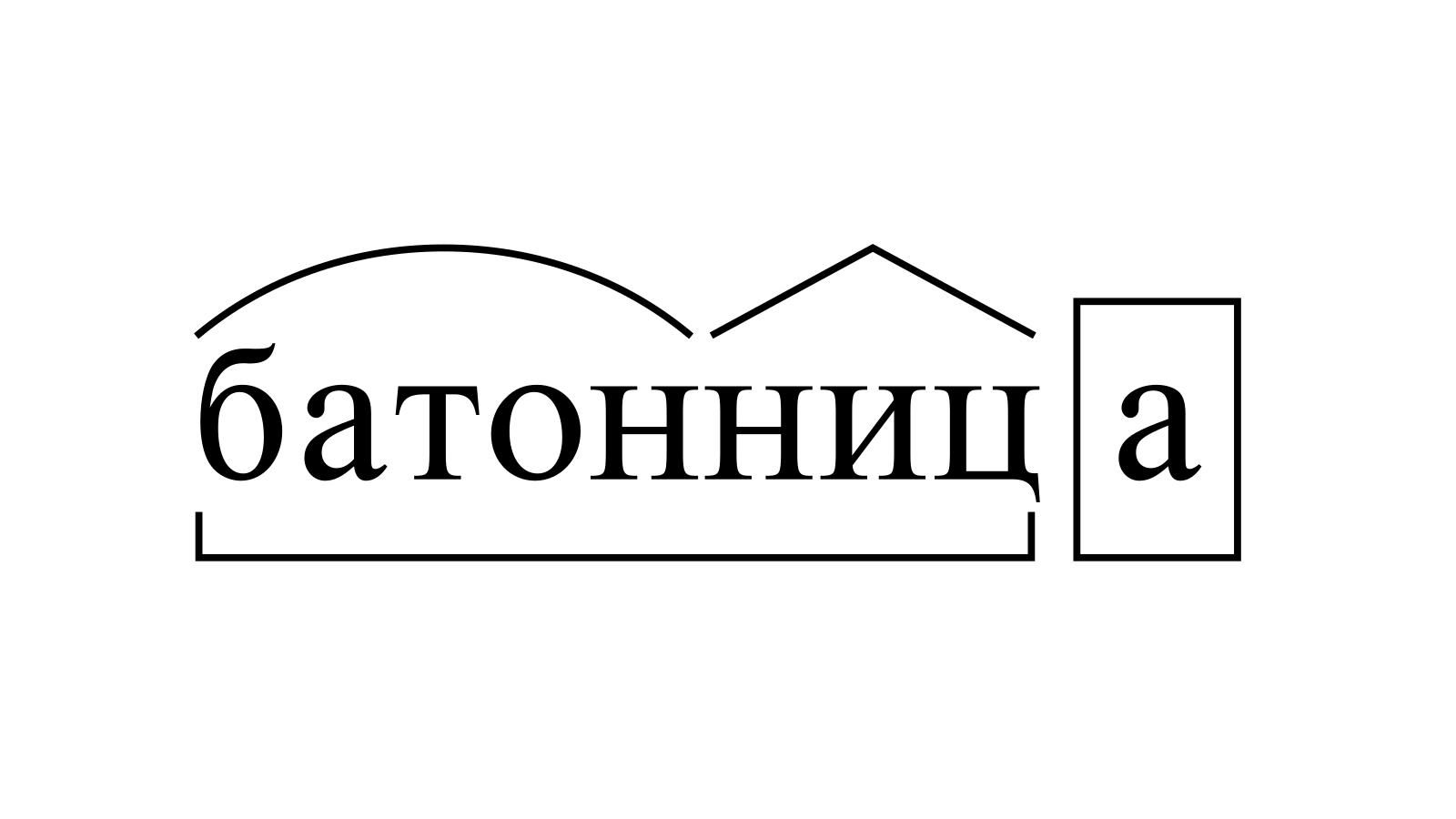 Разбор слова «батонница» по составу
