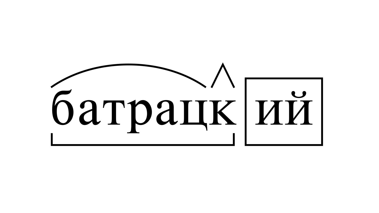 Разбор слова «батрацкий» по составу