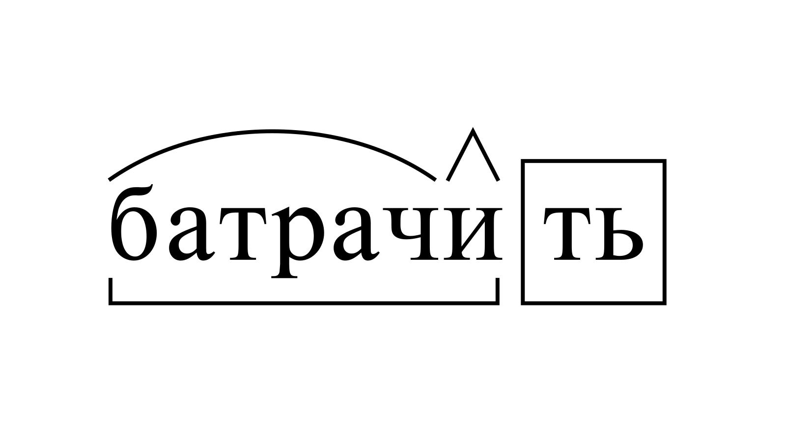 Разбор слова «батрачить» по составу