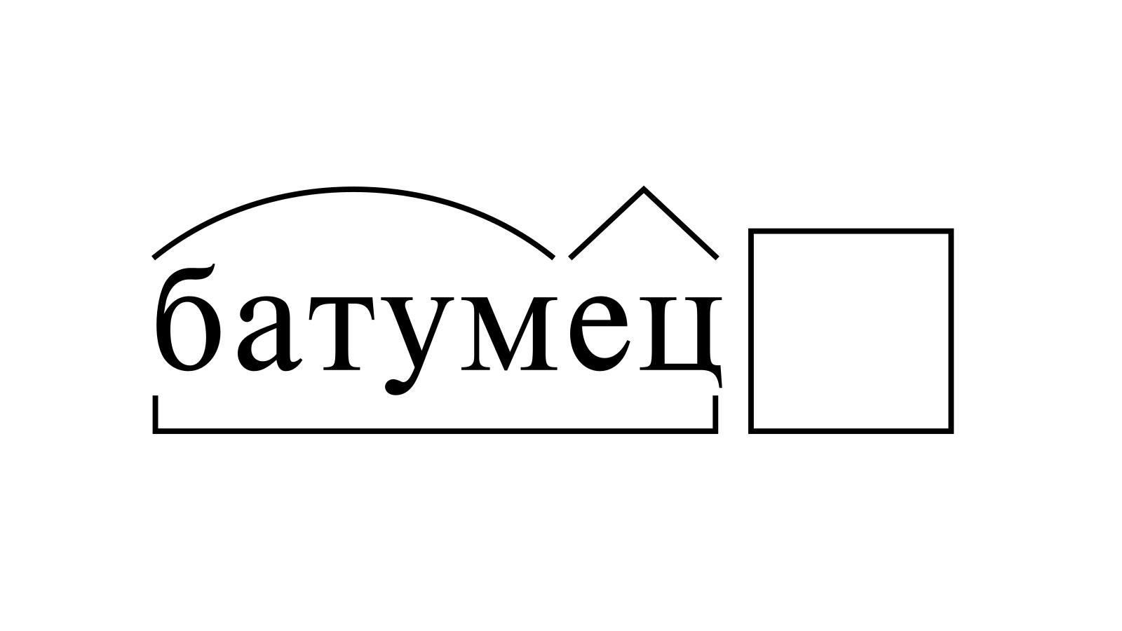 Разбор слова «батумец» по составу