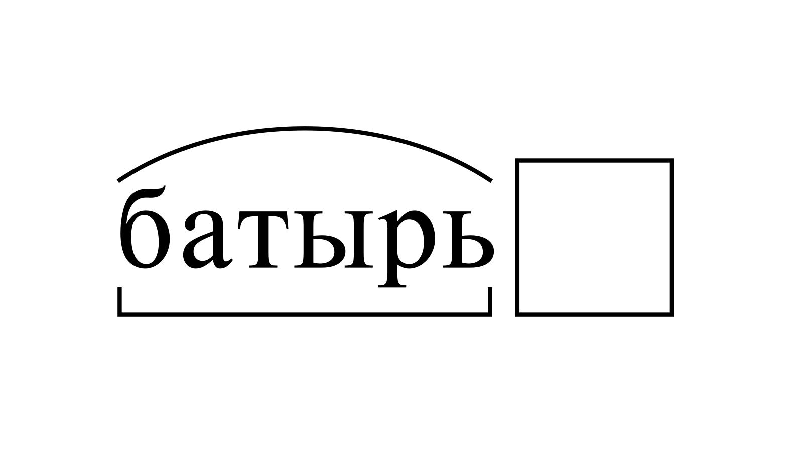Разбор слова «батырь» по составу