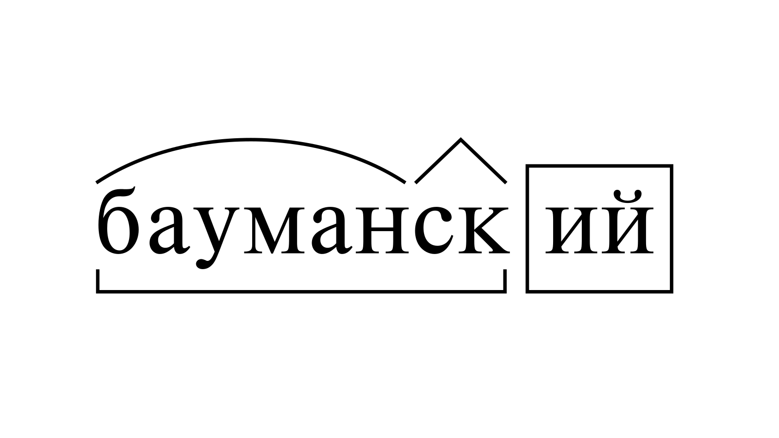 Разбор слова «бауманский» по составу