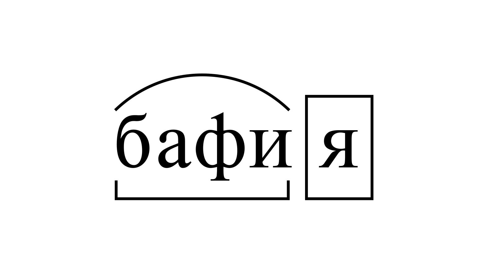 Разбор слова «бафия» по составу