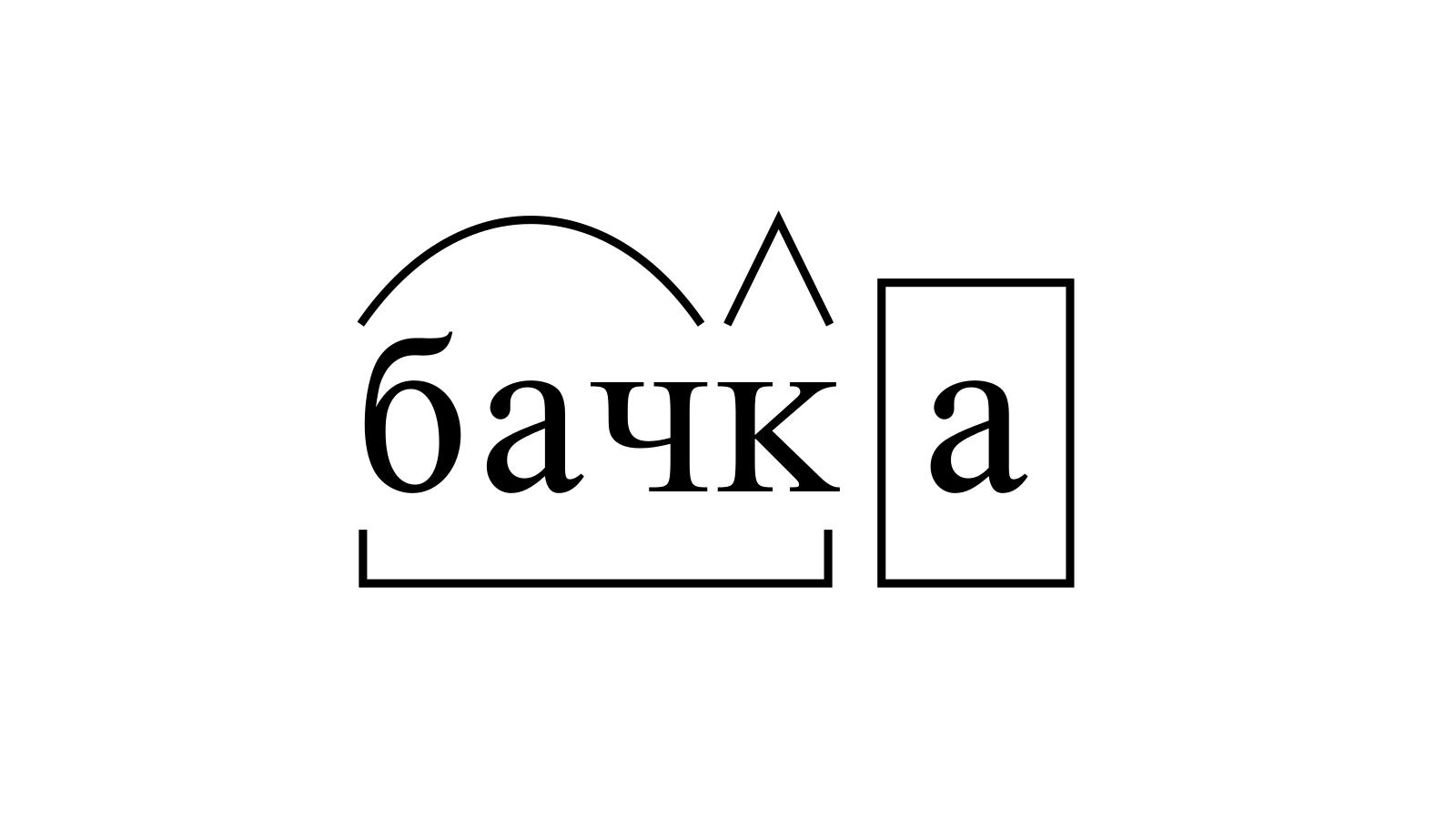 Разбор слова «бачка» по составу