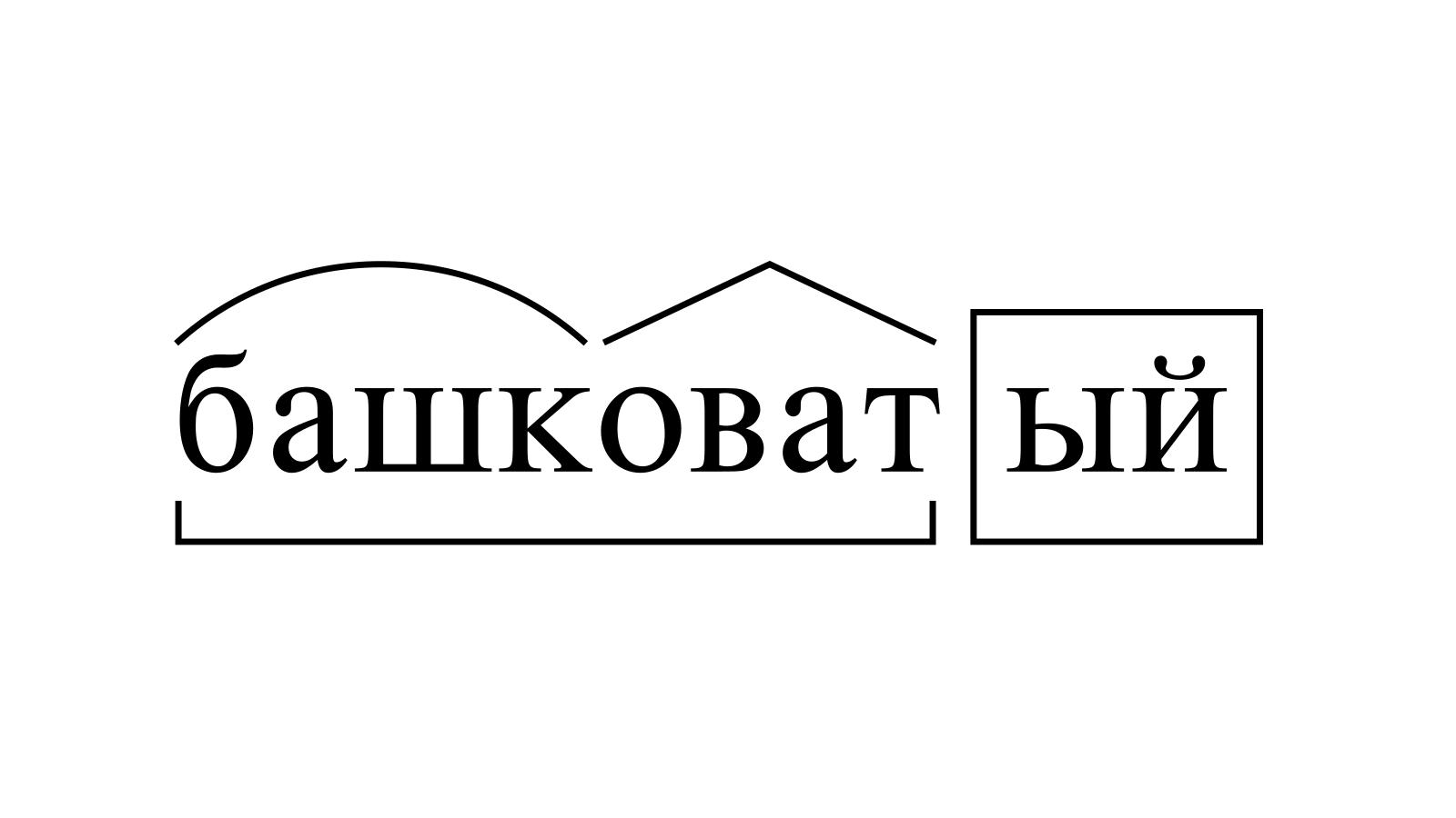 Разбор слова «башковатый» по составу