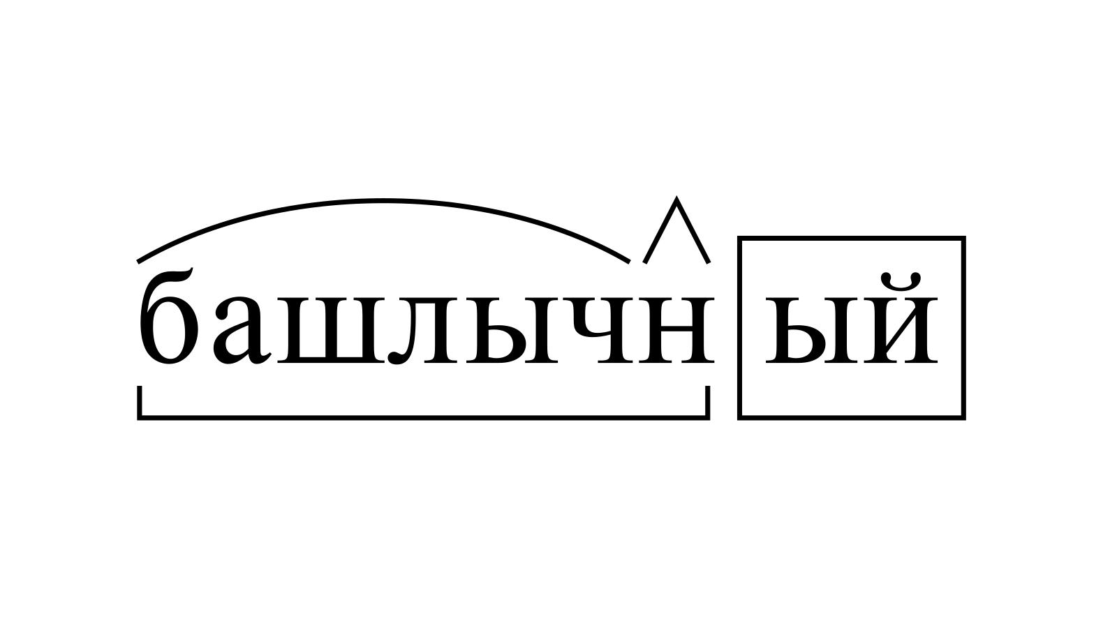 Разбор слова «башлычный» по составу