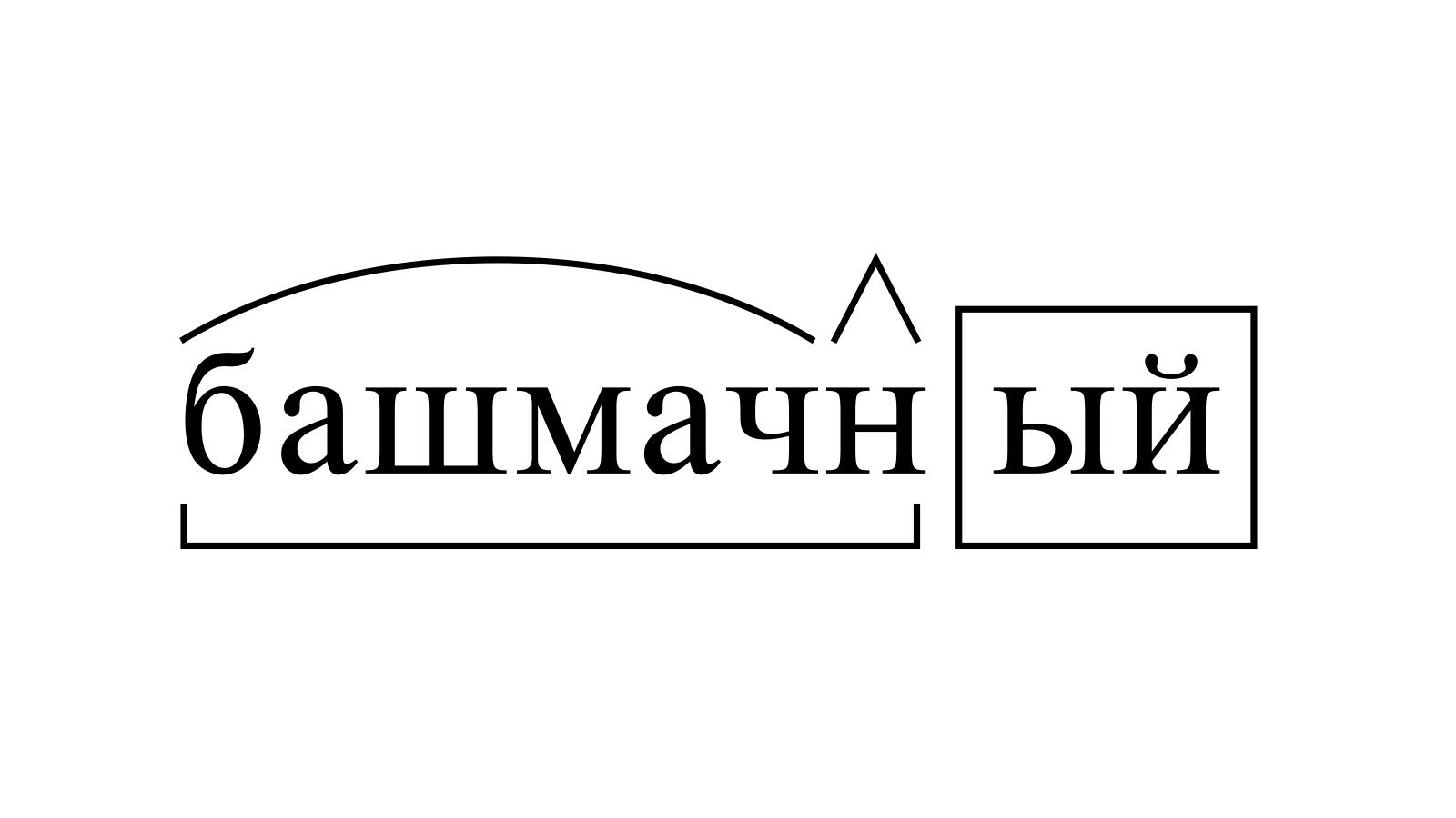 Разбор слова «башмачный» по составу