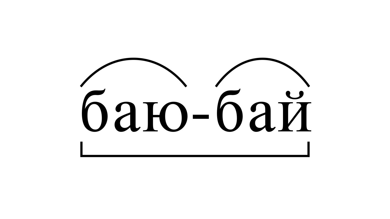 Разбор слова «баю-бай» по составу