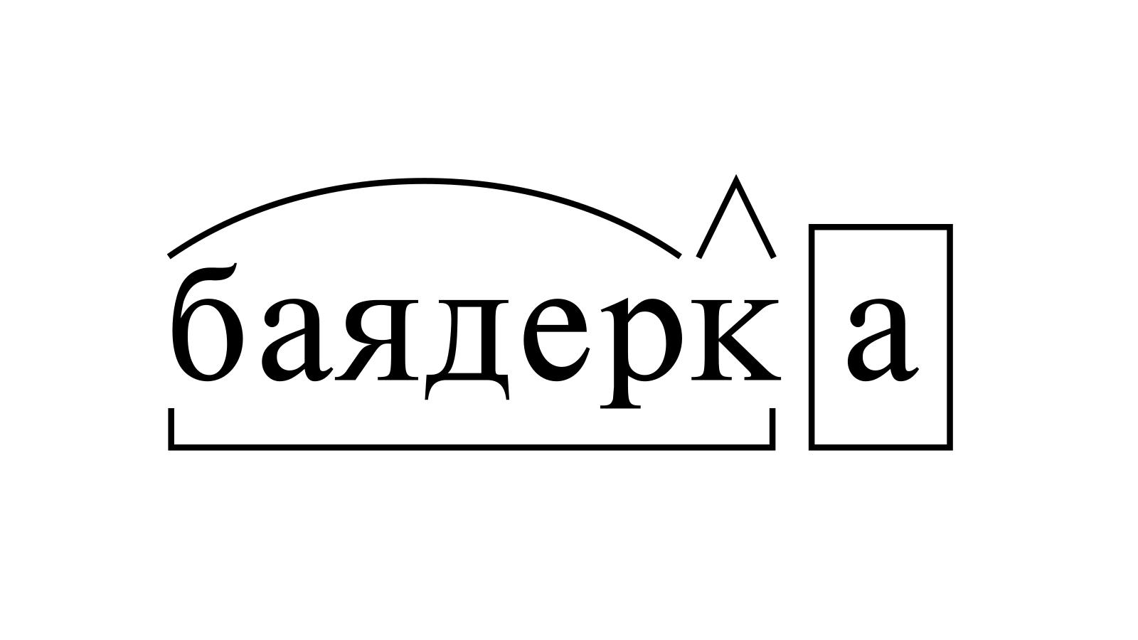 Разбор слова «баядерка» по составу
