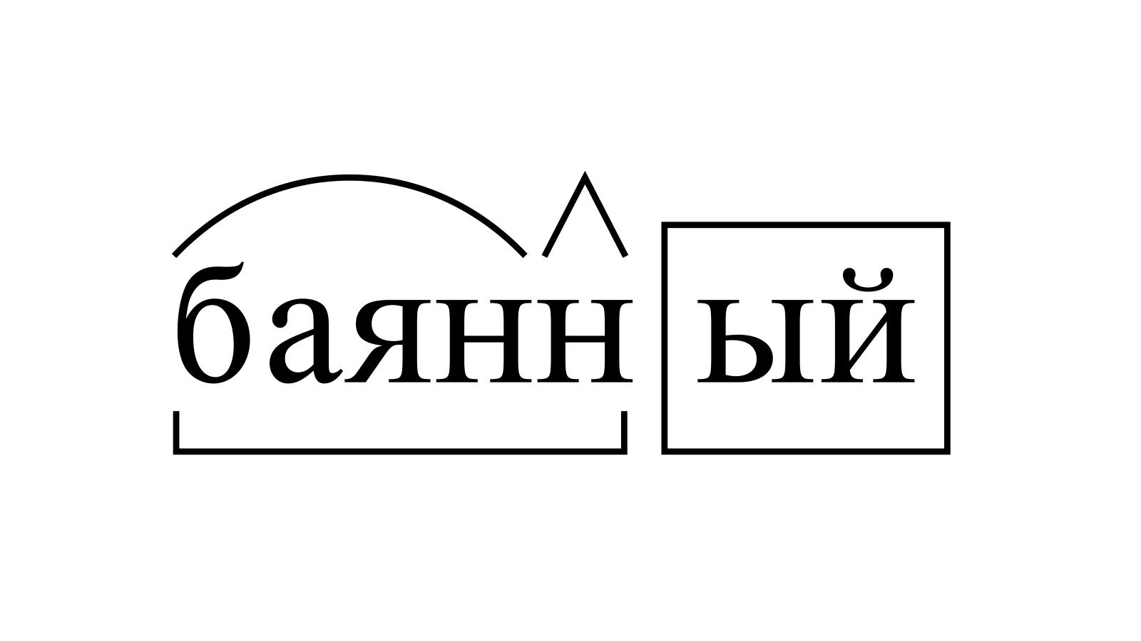 Разбор слова «баянный» по составу