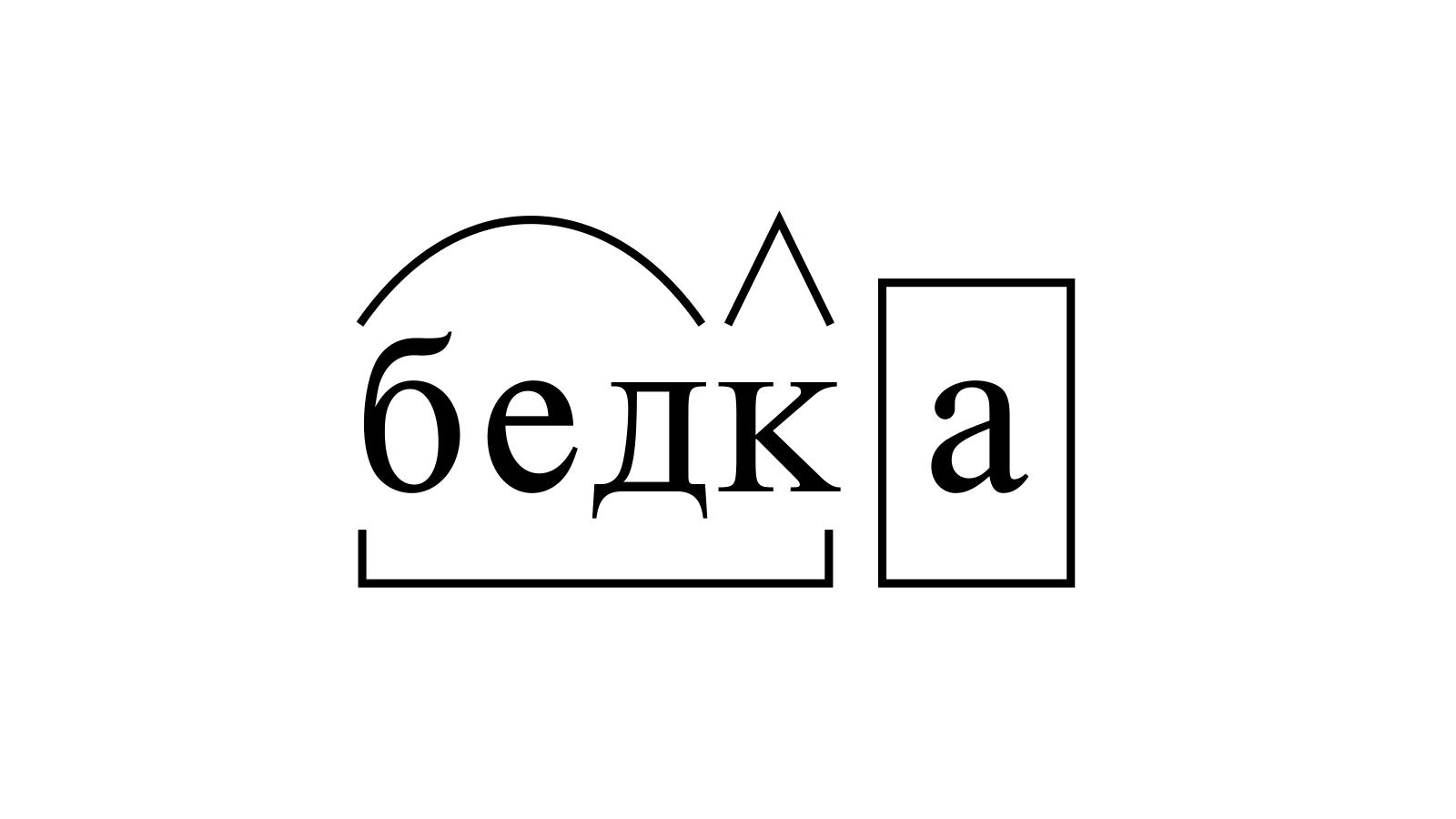 Разбор слова «бедка» по составу