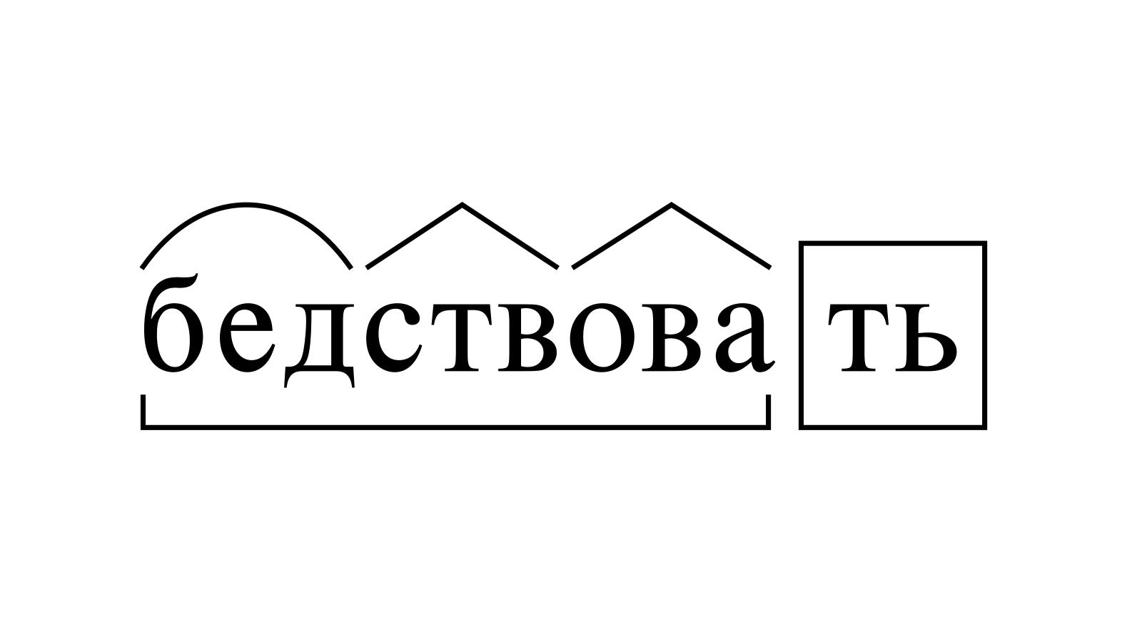 Разбор слова «бедствовать» по составу