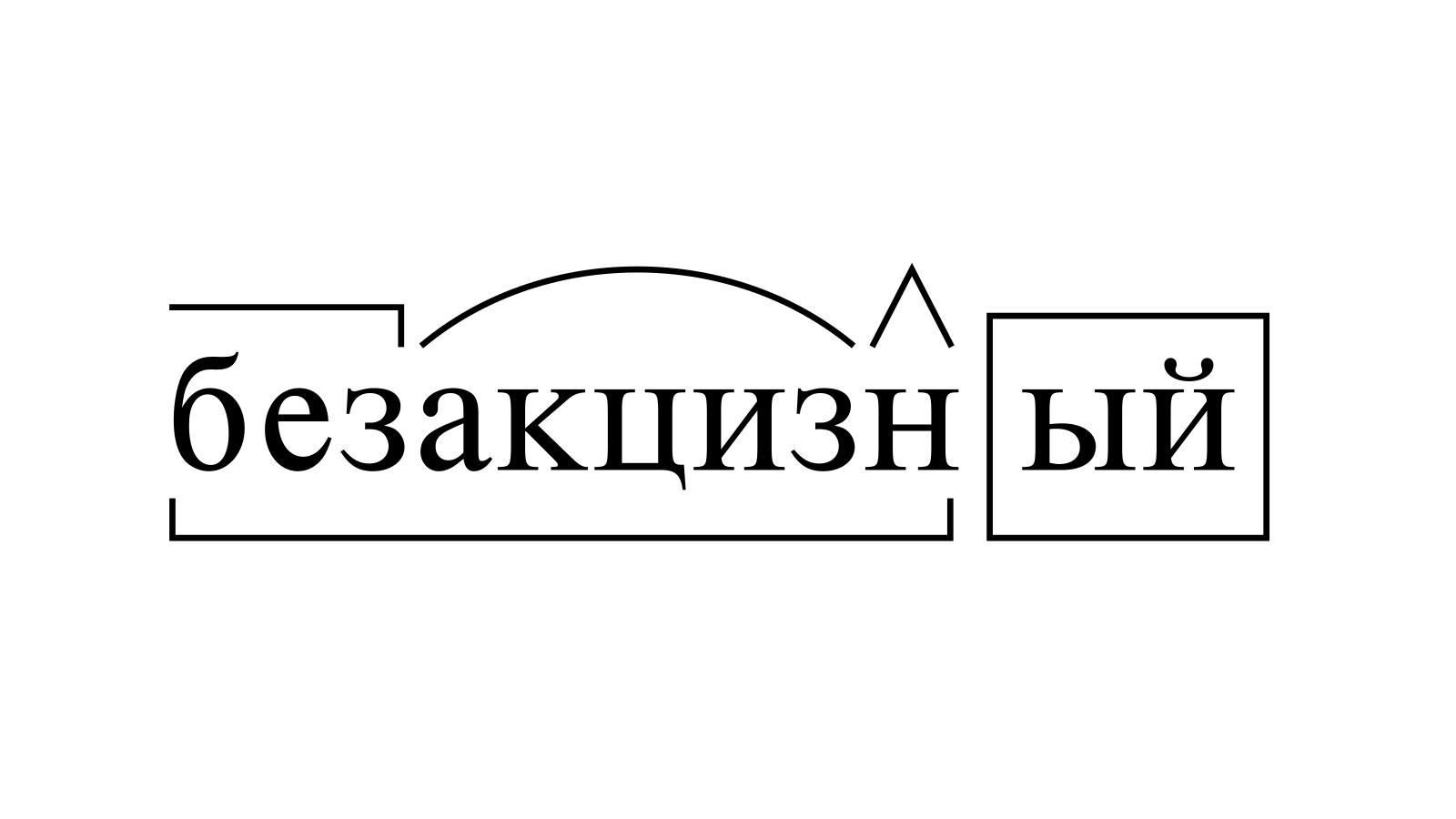 Разбор слова «безакцизный» по составу