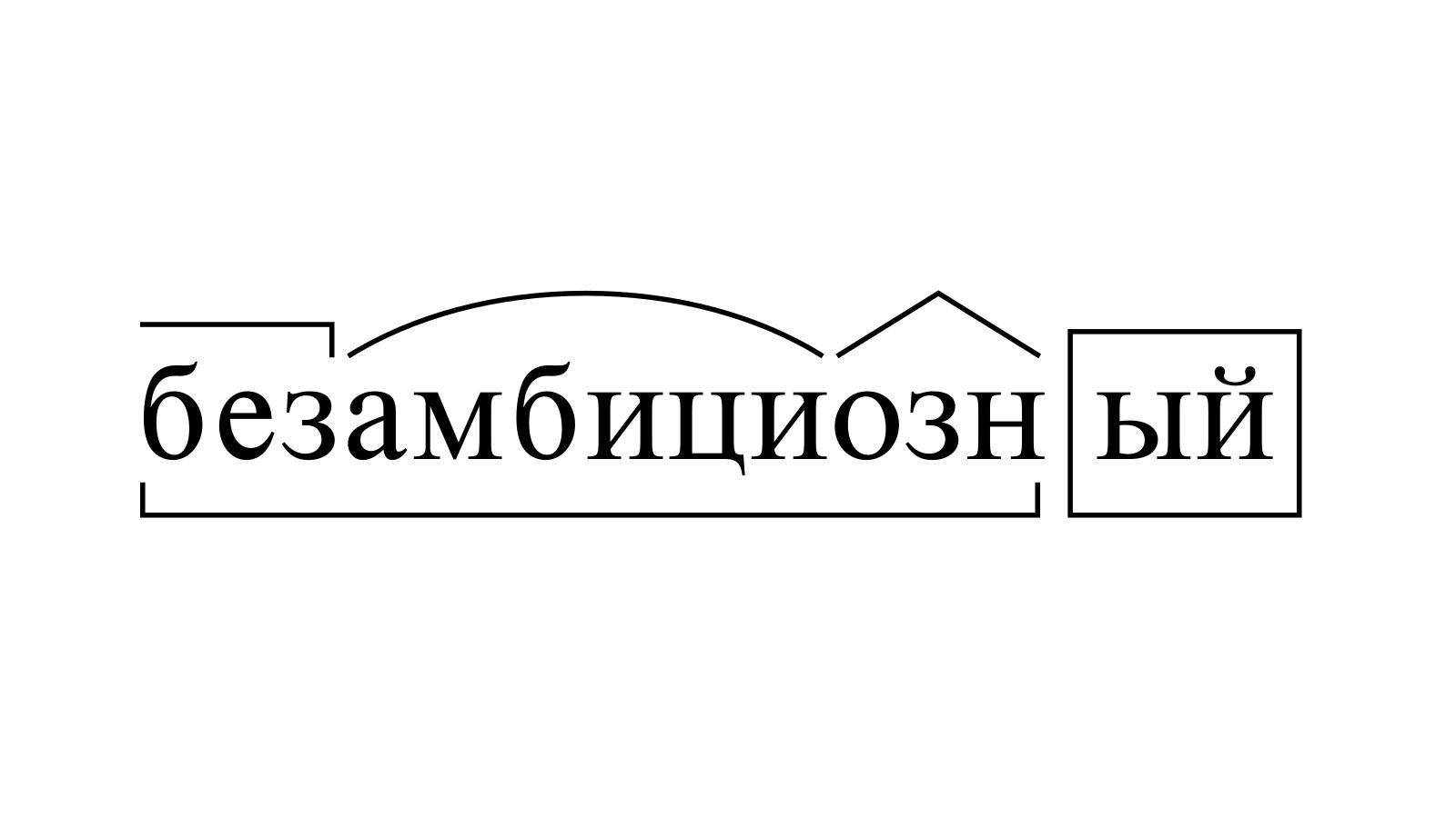 Разбор слова «безамбициозный» по составу