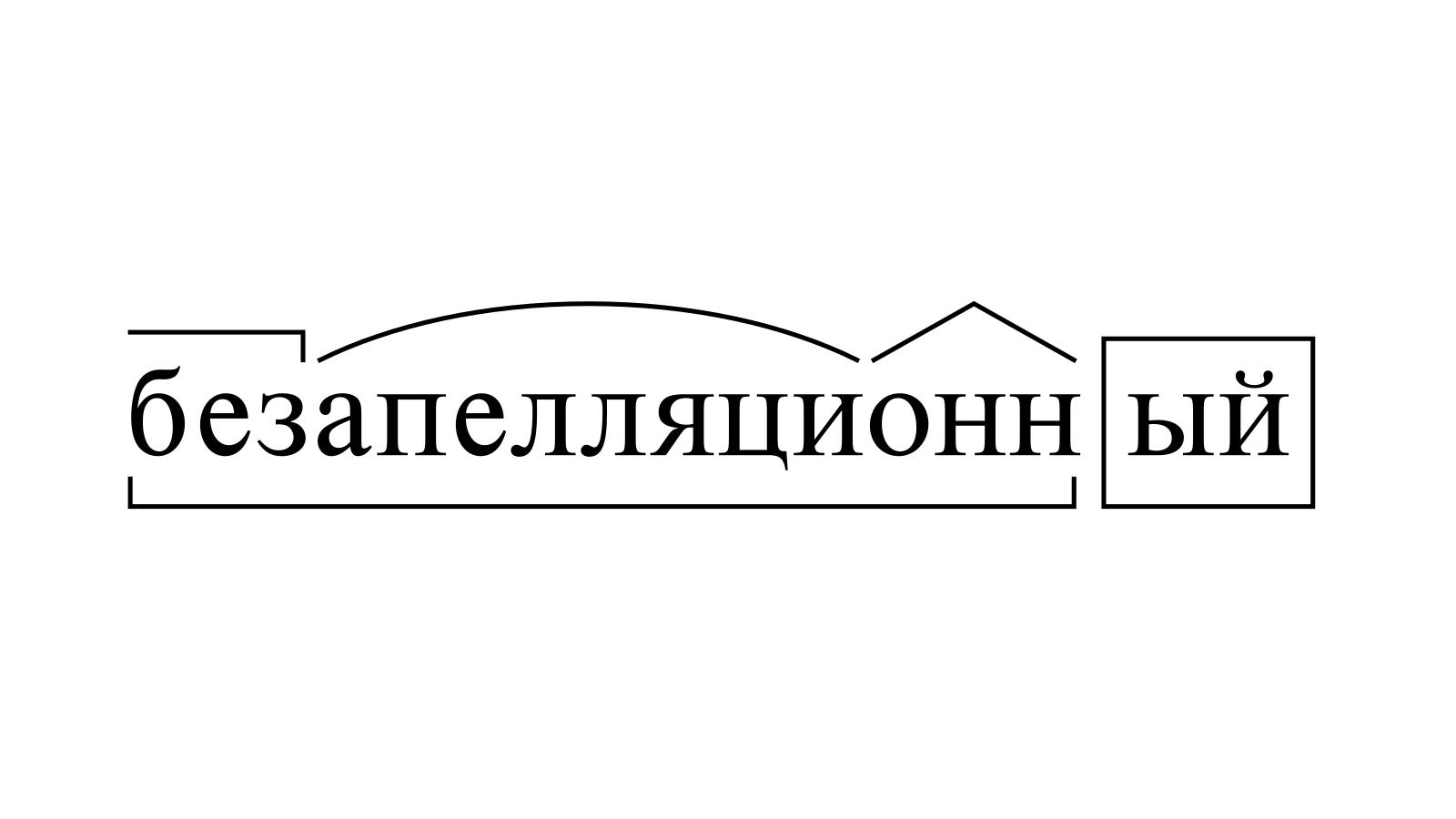 Разбор слова «безапелляционный» по составу