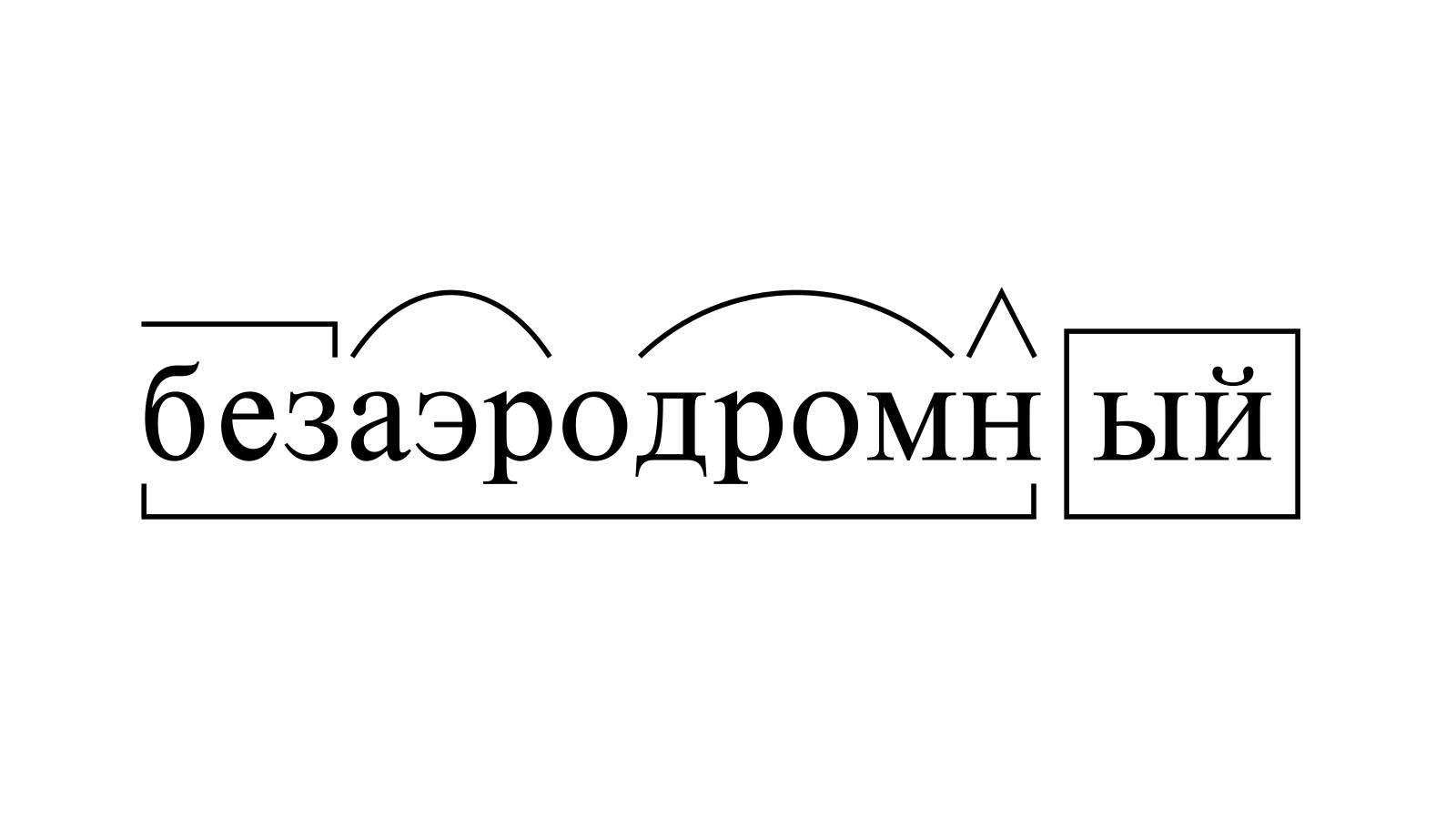 Разбор слова «безаэродромный» по составу