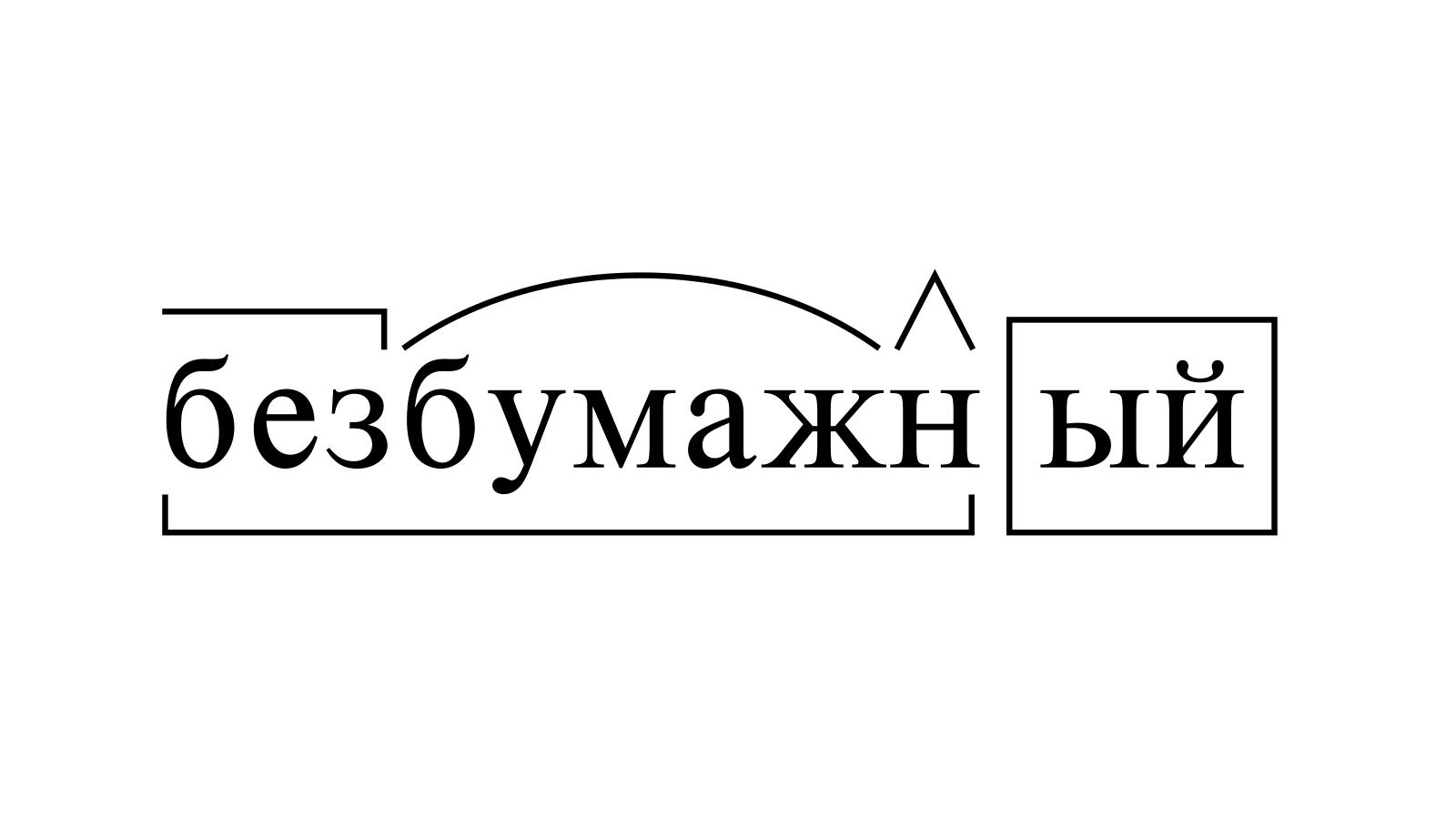 Разбор слова «безбумажный» по составу