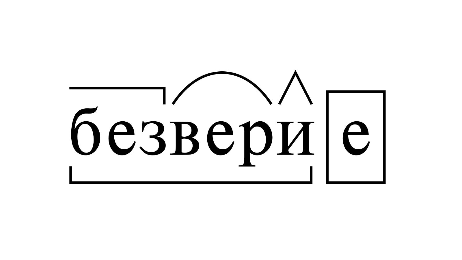 Разбор слова «безверие» по составу