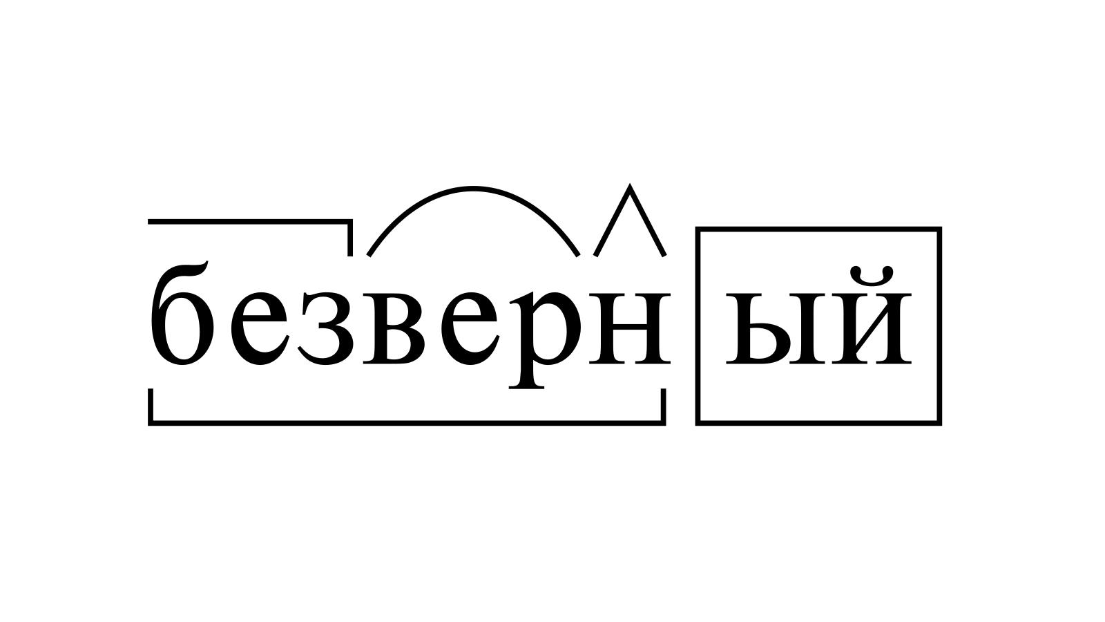 Разбор слова «безверный» по составу