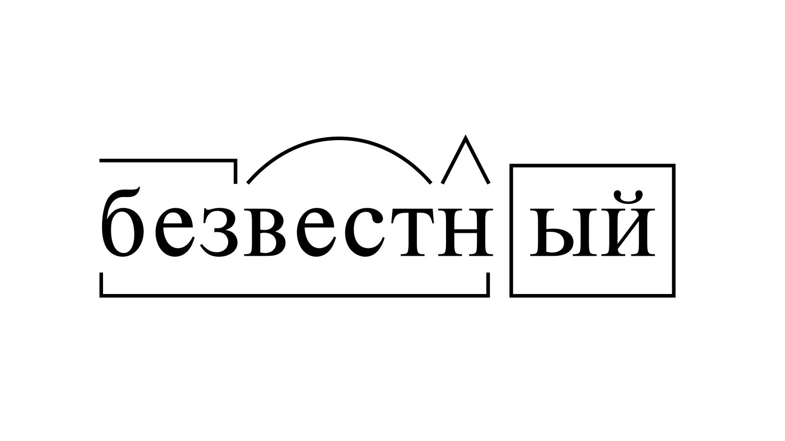 Разбор слова «безвестный» по составу