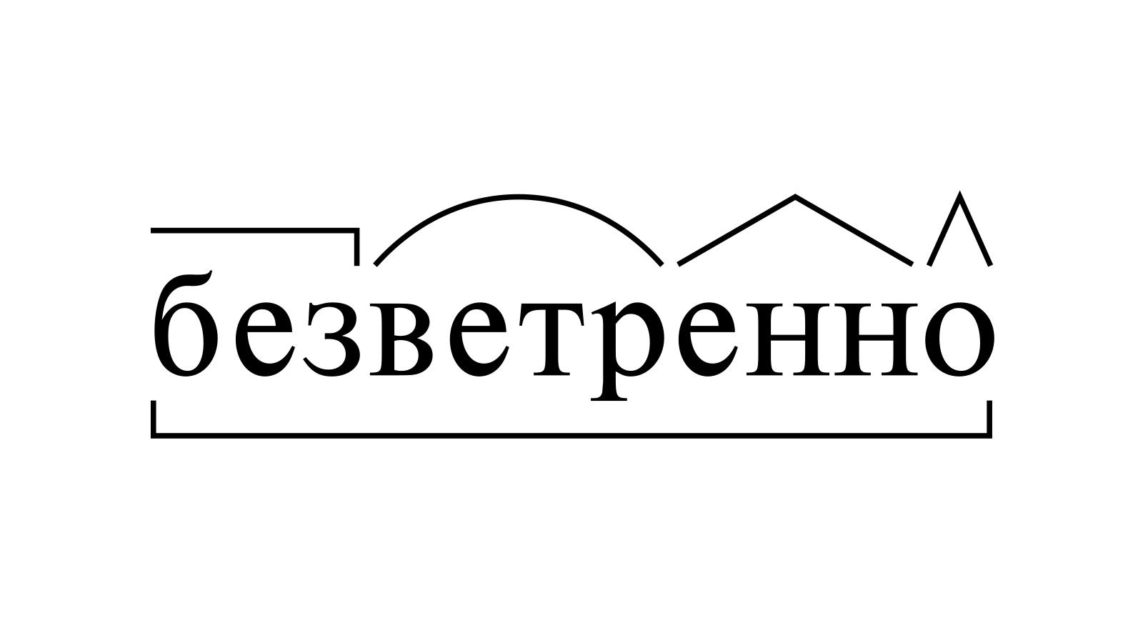 Разбор слова «безветренно» по составу