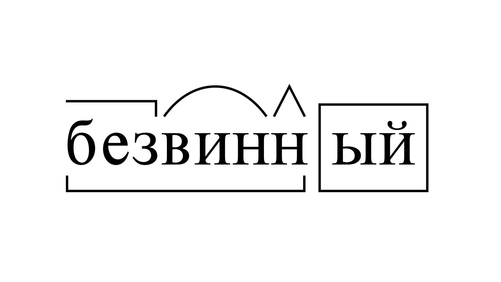 Разбор слова «безвинный» по составу
